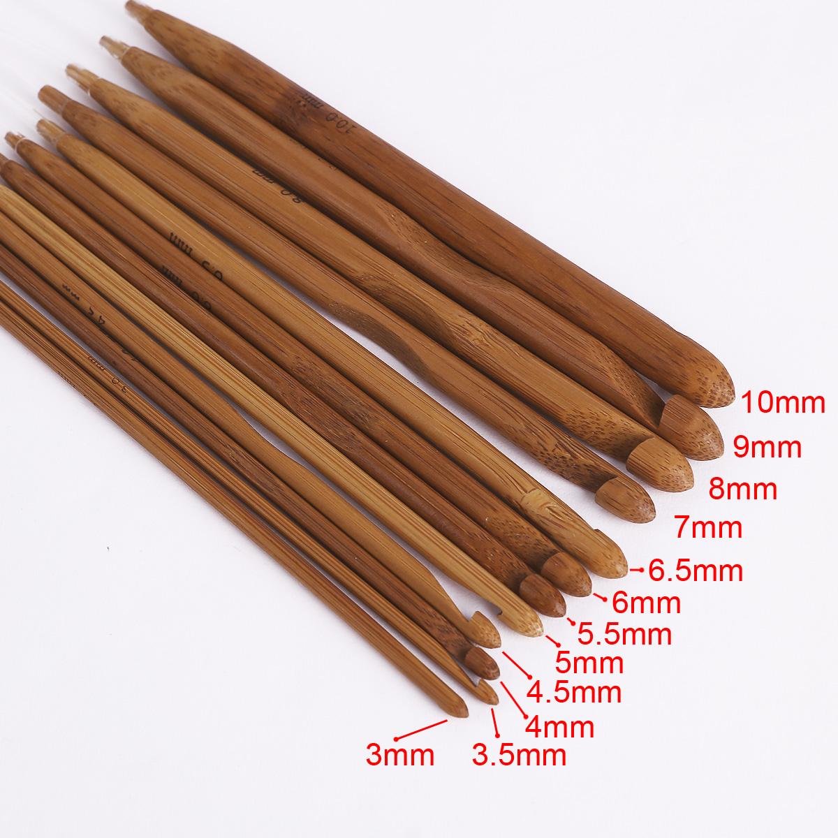 12pcs aiguille crochet 3 10mm bambou plastique afghane for Bambou plastique