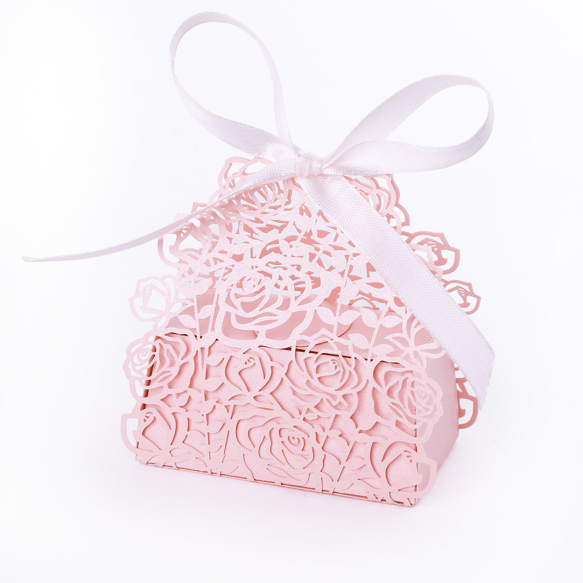 25 Romantic Rose Laser Cut Bomboniere Boxes Wedding Favor Shower ...