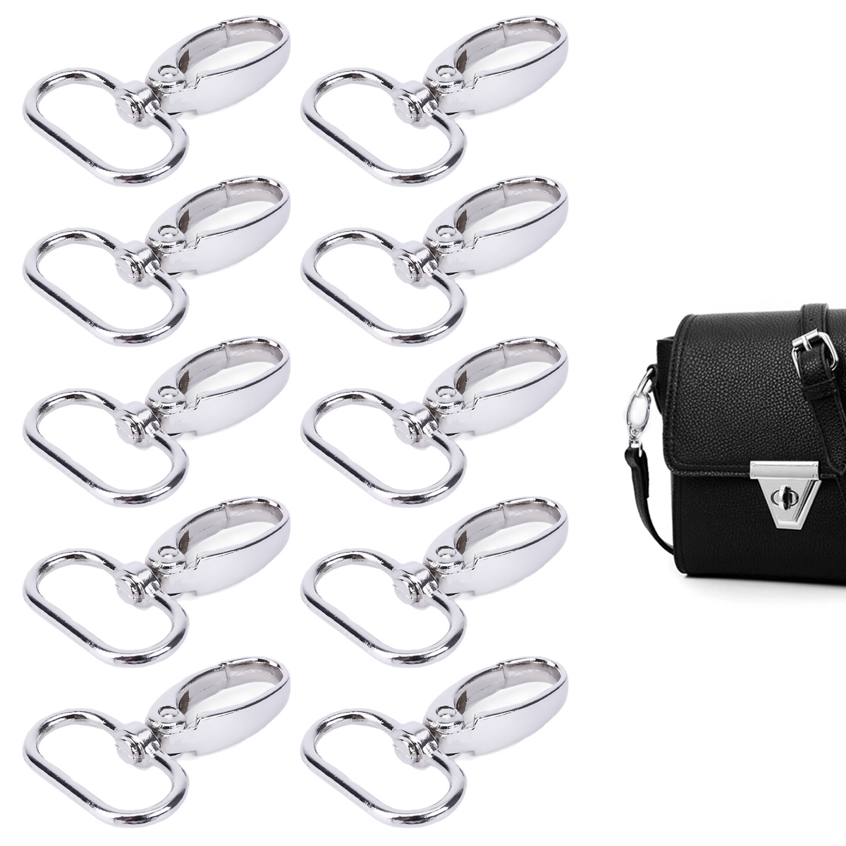 30pcs 20-25mm Swivel Trigger Clips Snap Hooks Lobster Clasps Bags Keychains DIY