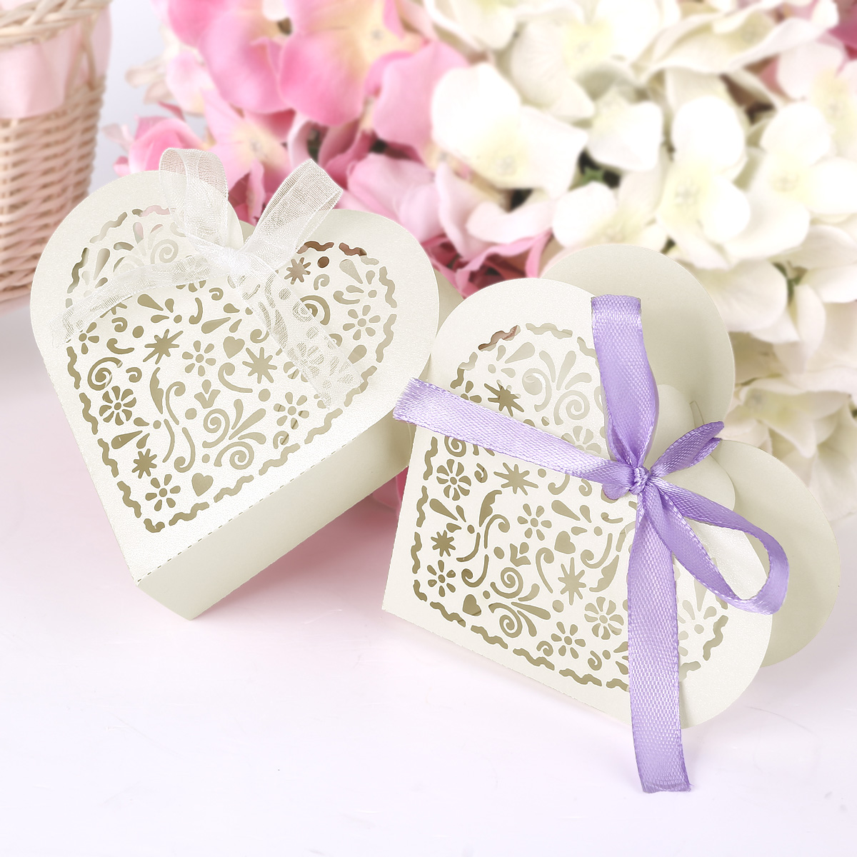 25 Heart Shape Laser Cut Bomboniere Boxes Wedding Favor Shower Candy ...