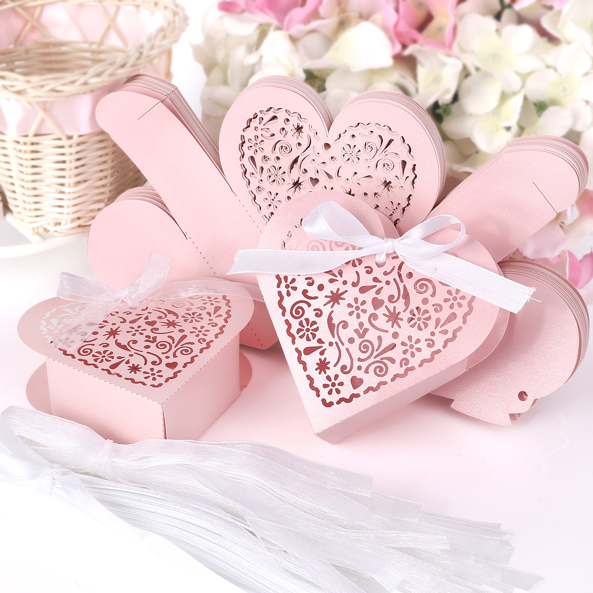 25 Heart Shape Laser Cut Bomboniere Boxes Wedding Favor Shower Candy ...