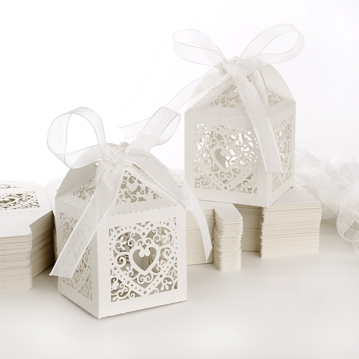 Hollow Candy Gift Boxes W/ Ribbon Wedding Party Favor Candle Mini ...