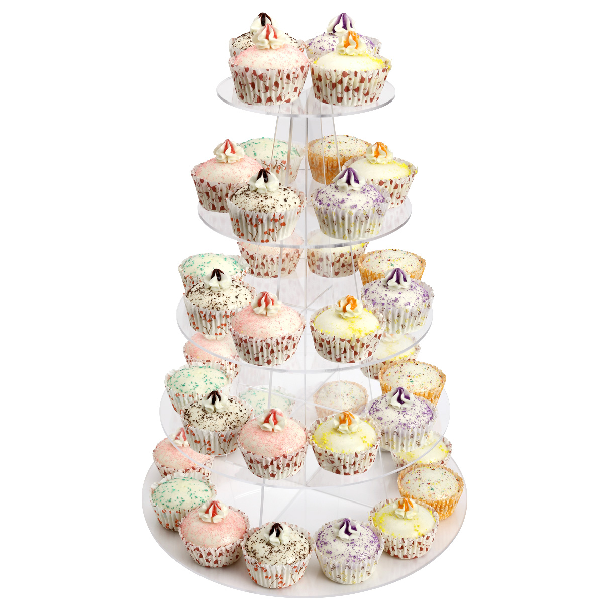 3-7 Tier Crystal Clear Acrylic Round Cupcake Stand Hotle Wedding ...