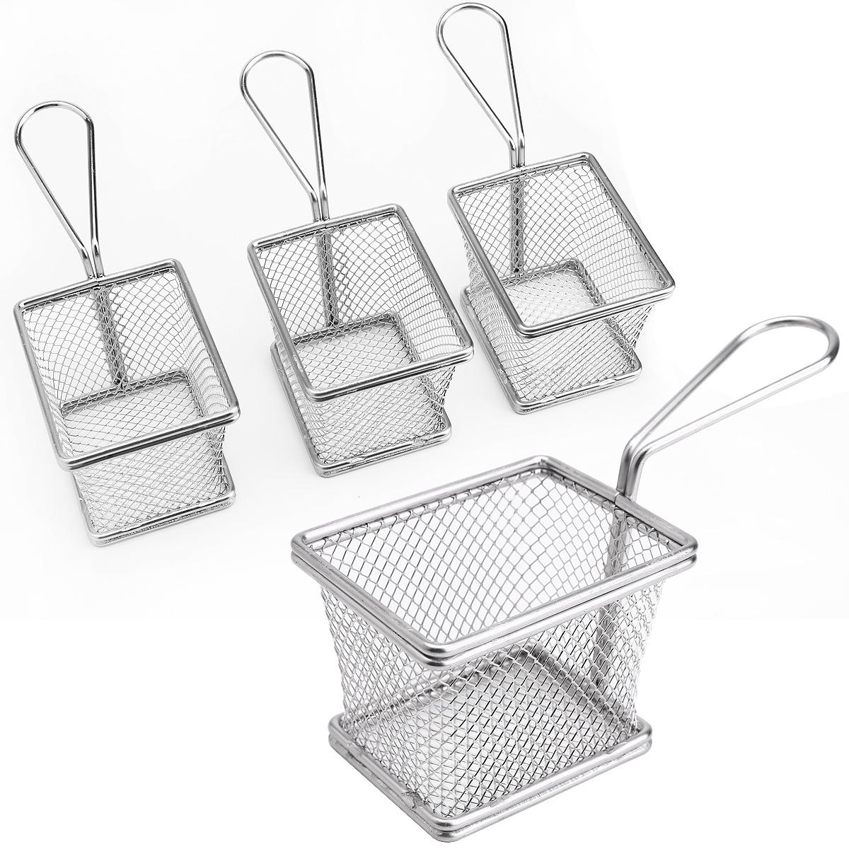 4pcs Mini Restaurant Chips Basket Chrome Chip Fryer Basket Kitchen ...