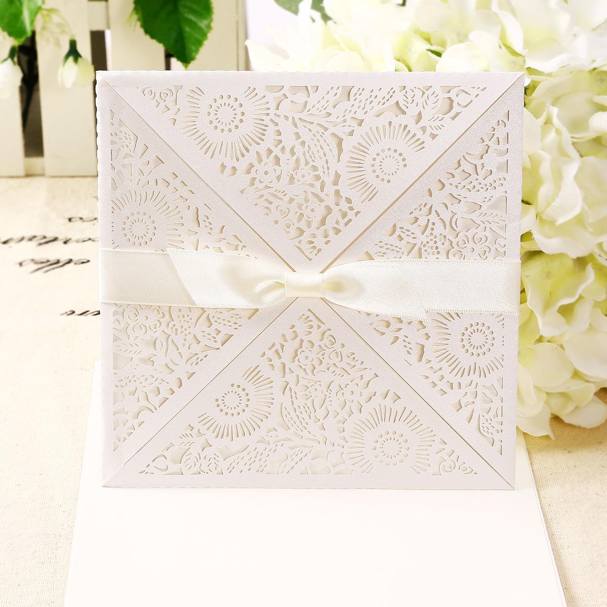 10 X Ivory Einladungskarten Blumen Muster Umschlag Hochzeit Party Einladung
