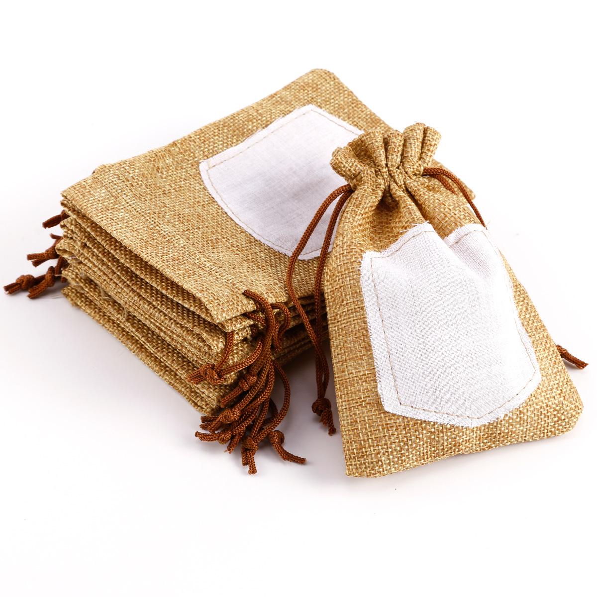 Bolsita de tela de saco bolsita de lino para boda bautizo - Bolsitas de tela de saco ...