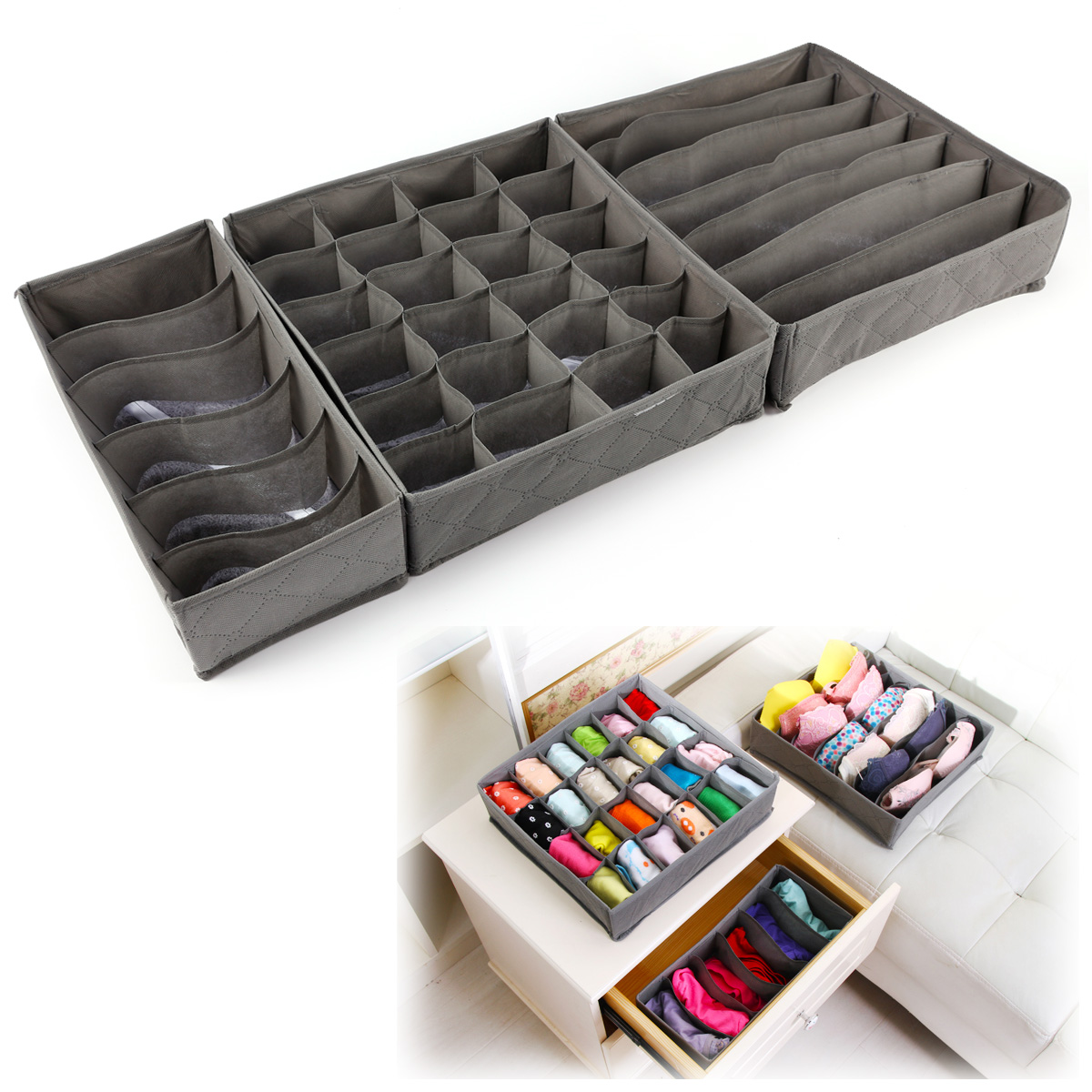 3 pi ces bo te de rangement pliable non tiss sac organisateur sous v tement ebay. Black Bedroom Furniture Sets. Home Design Ideas