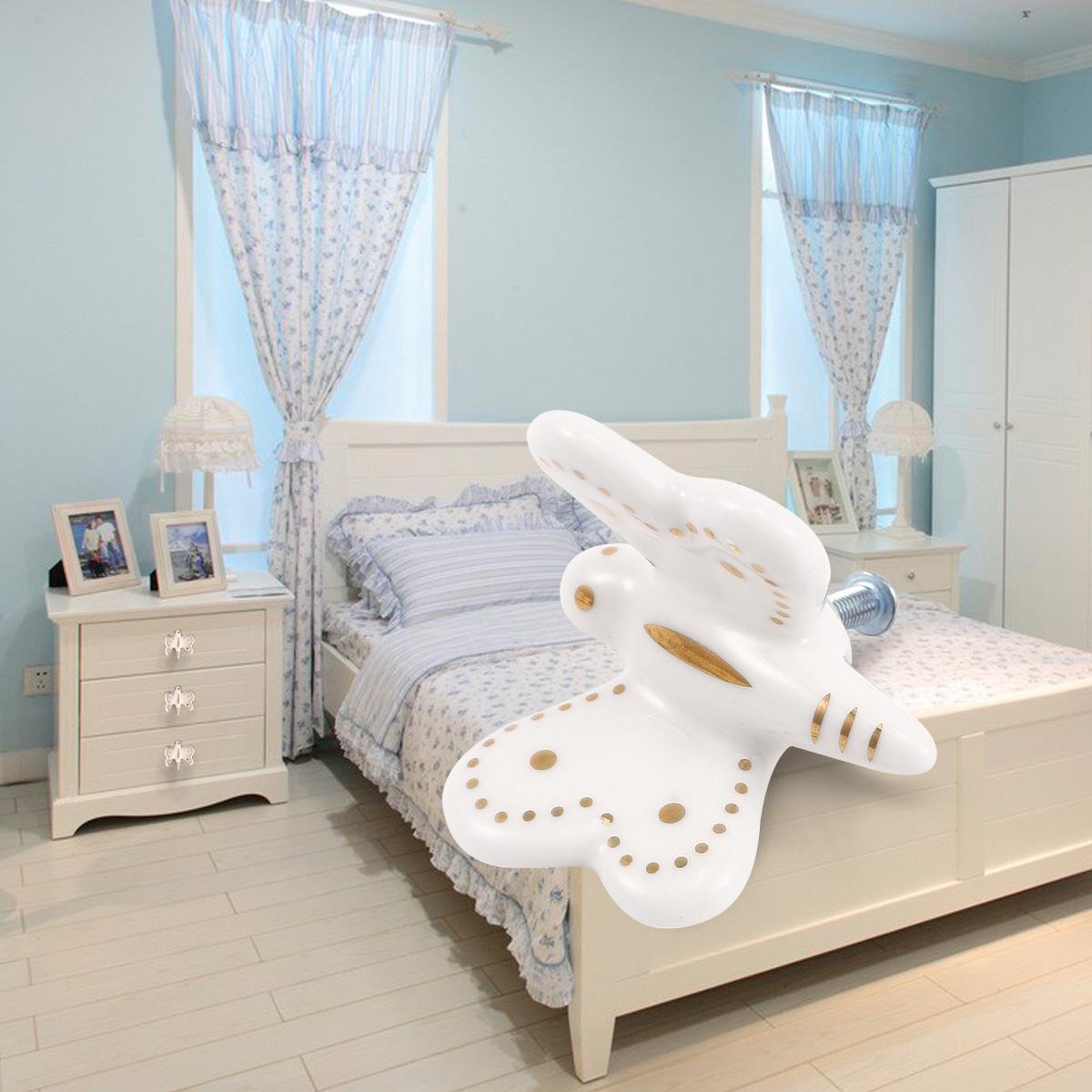 8x poign e bouton c ramique papillon blanc pour meuble armoire placard commode ebay. Black Bedroom Furniture Sets. Home Design Ideas