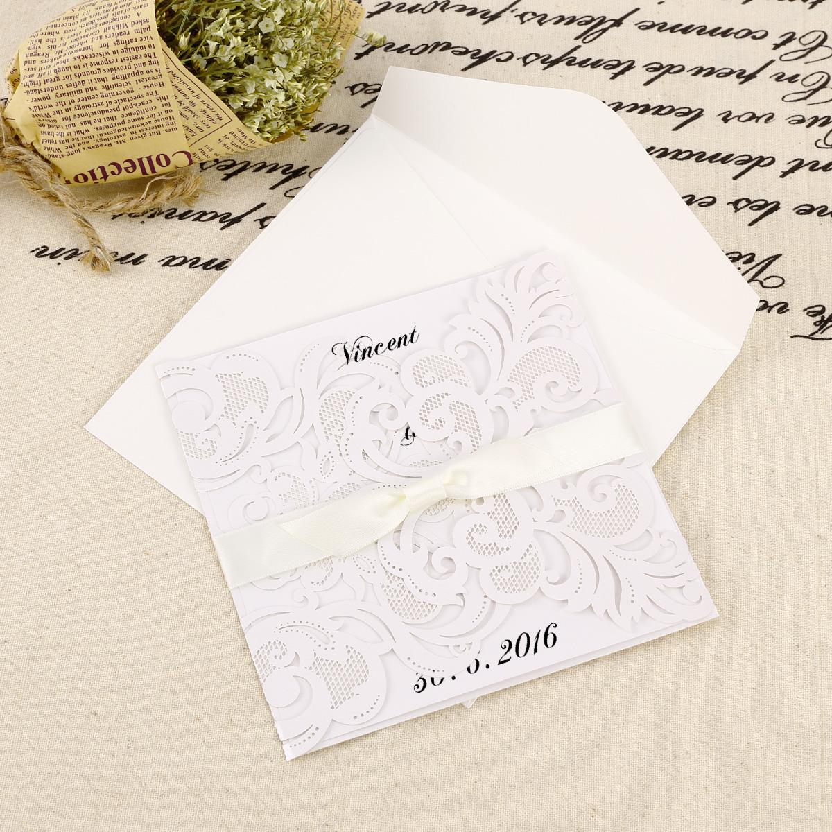 Fesselnd Papier Einladungskarten Einladung Set Mit Umschlag Hochzeit Taufe