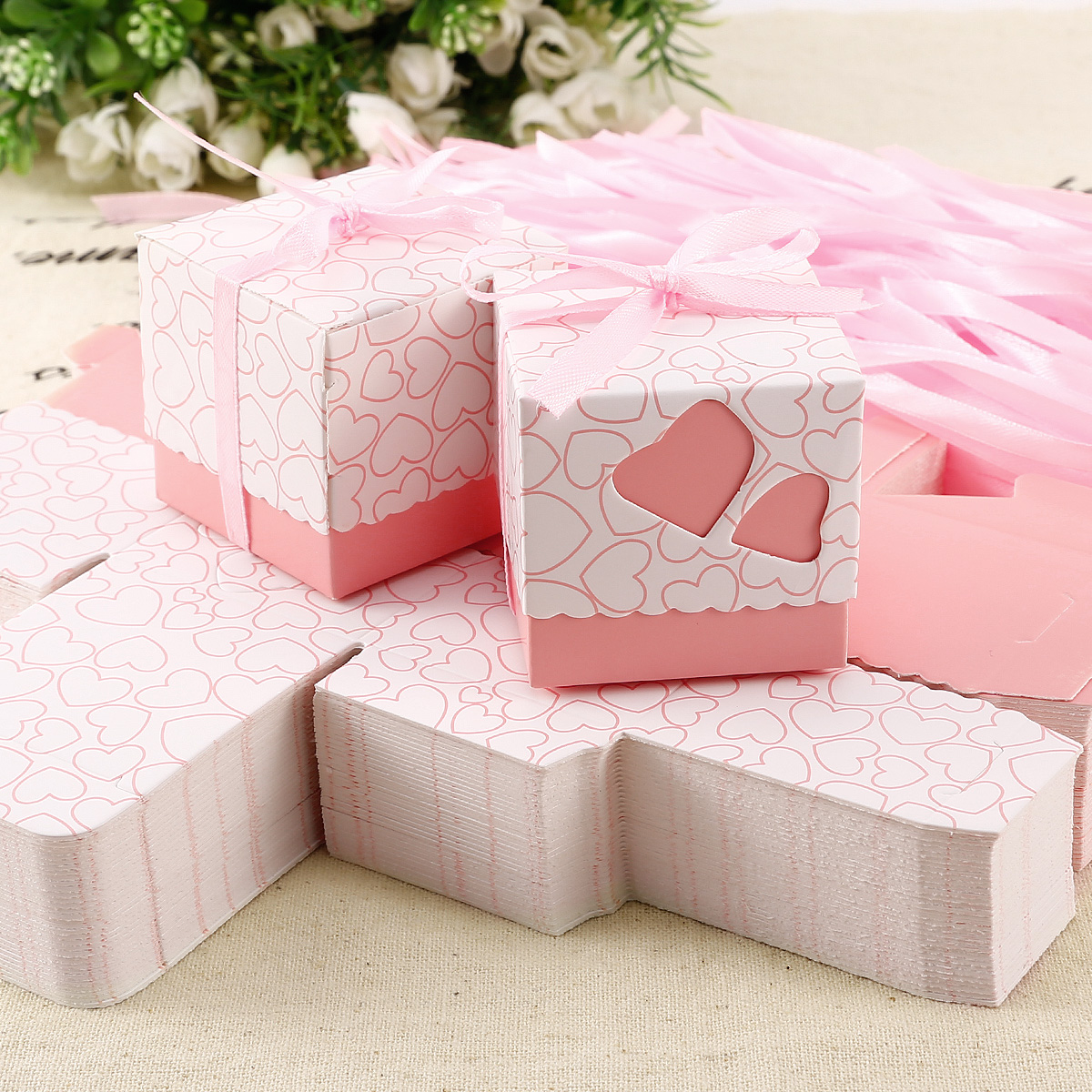 100x Hollowed-Out Hearts Print Gift Boxes Chocolate Wedding Favor ...