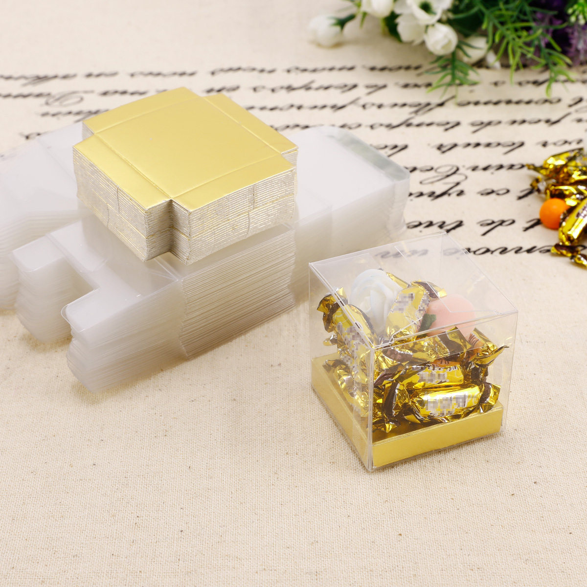 Clear Favor Boxes With Base: Clear cover kraft base soap gift box.