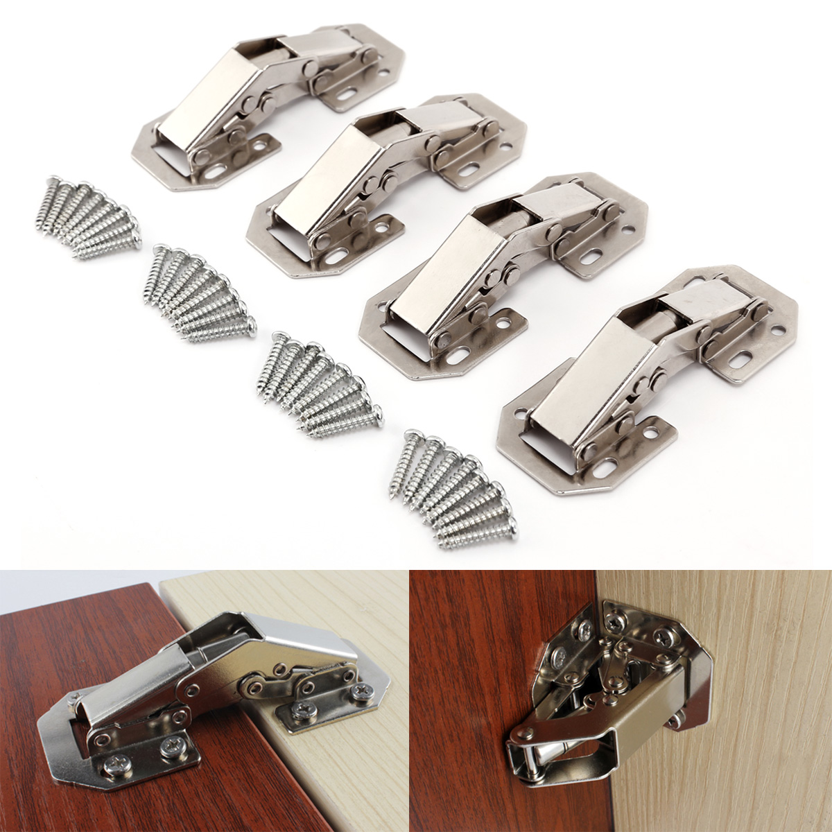 4pcs bisagra sin cazoleta de 77mm de 90 bisagras para muebles superpuesta ebay - Bisagras sin cazoleta ...
