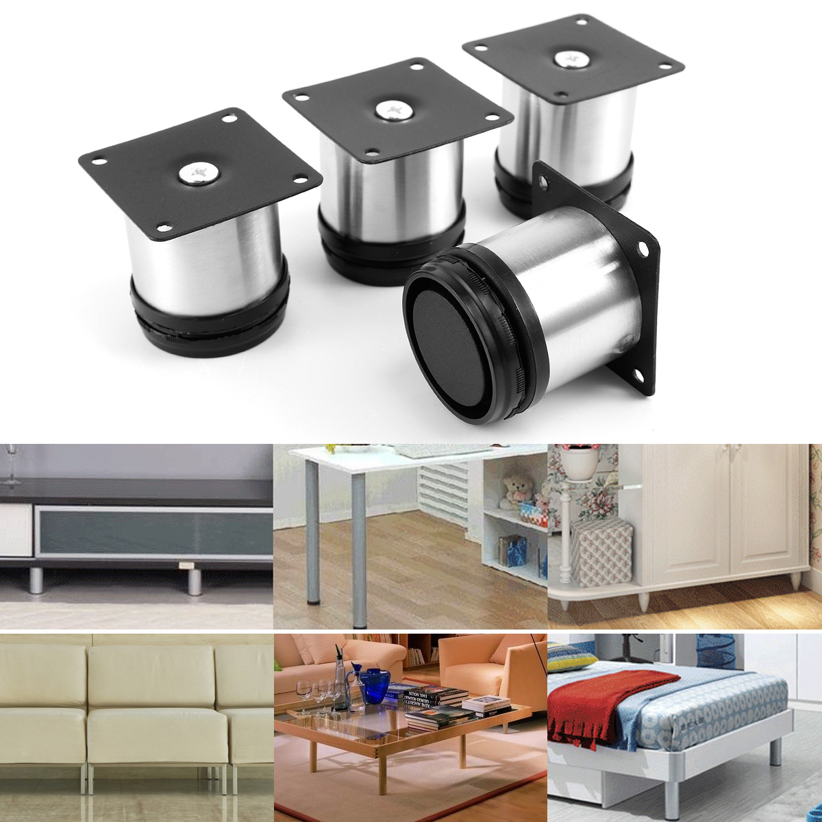 4 uds 6cm Patas de acero redonda regulables Ø50mm para muebles Pies ...