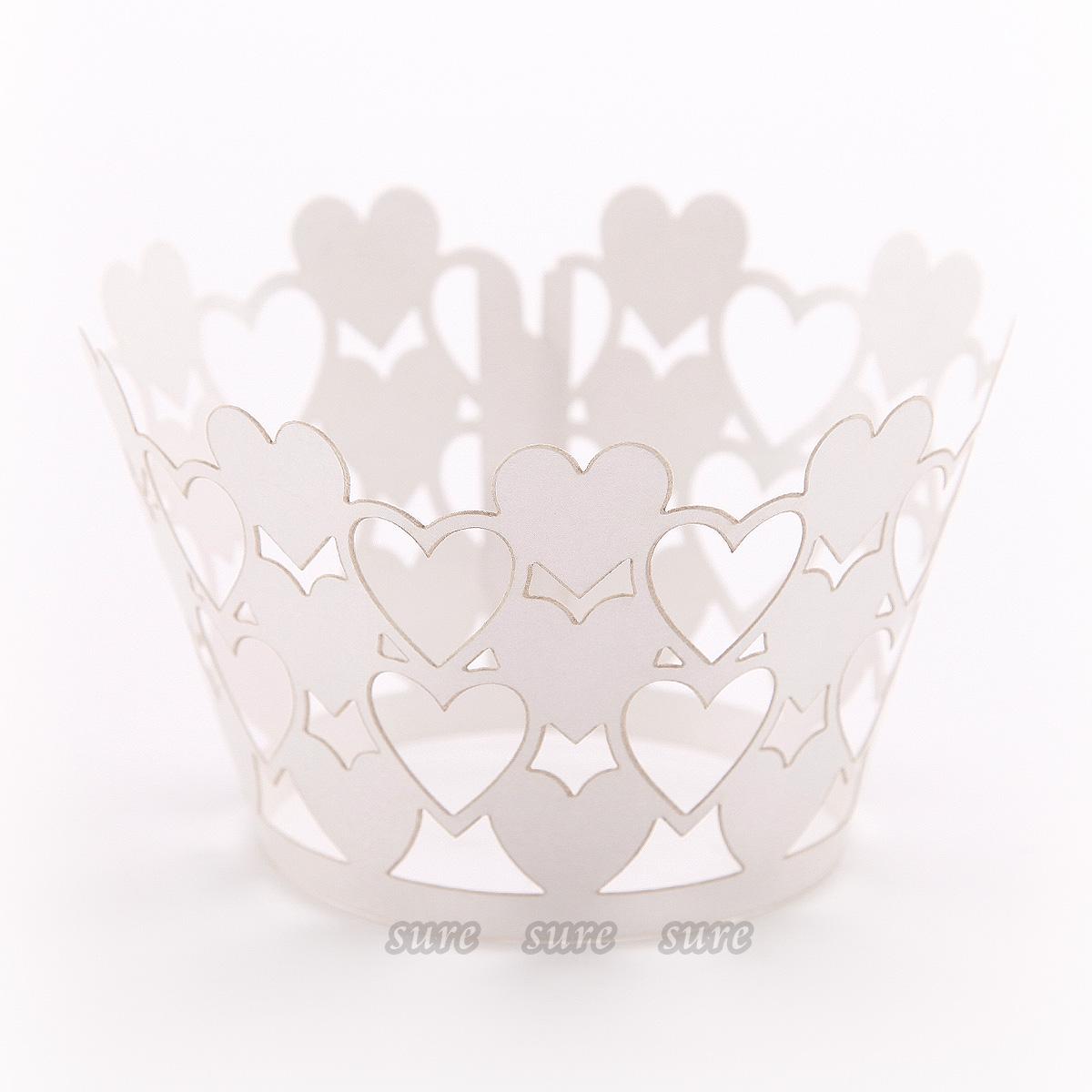 24 Love Heart Cupcake Wrapper Wrap Case Wedding Decoration