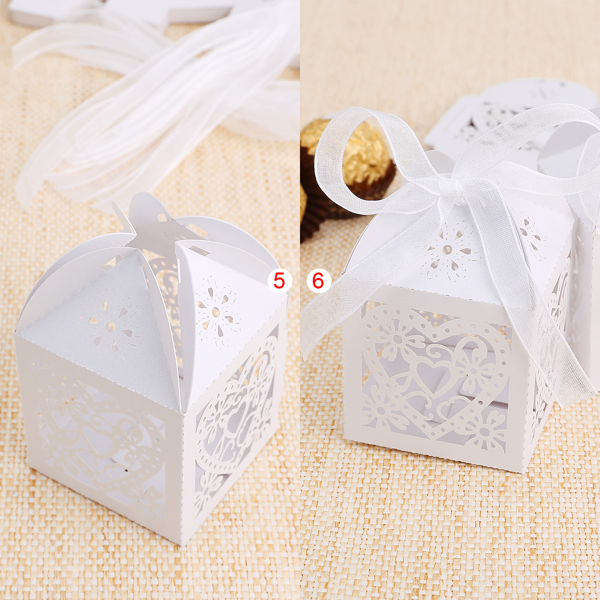 25x Sweet Heart Laser Cut Gift Candy Boxes w Ribbon Wedding Party ...