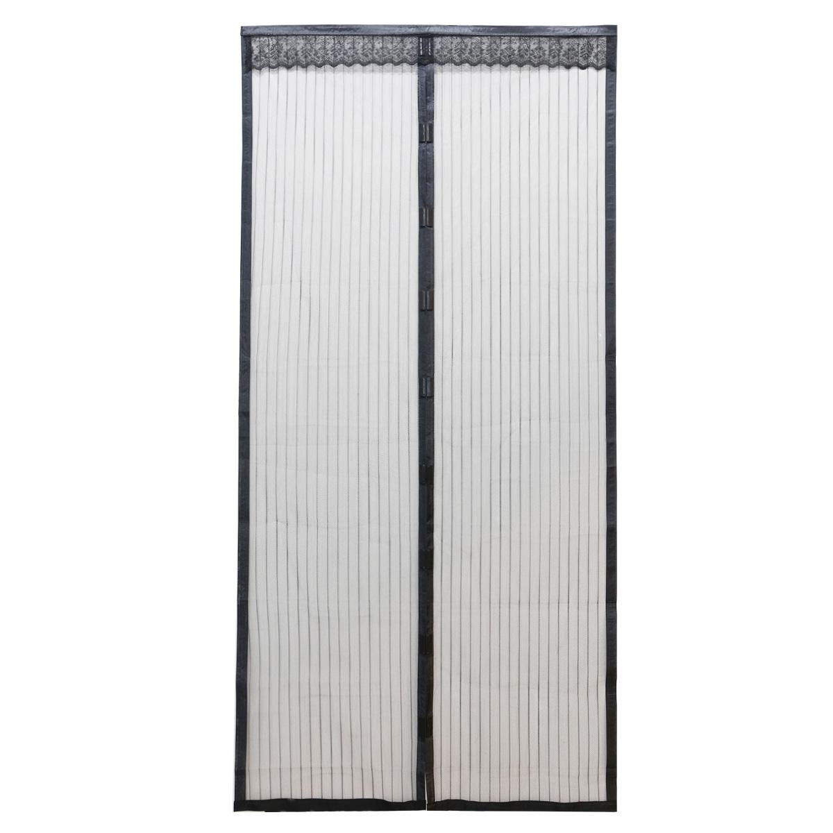 Cortina Mosquitera Velcro Magn Tica 100x210cm Negro Stripe