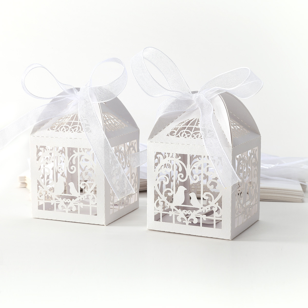 50 White Candy Gift Boxes With Ribbon Wedding Party Favor Love Bird ...