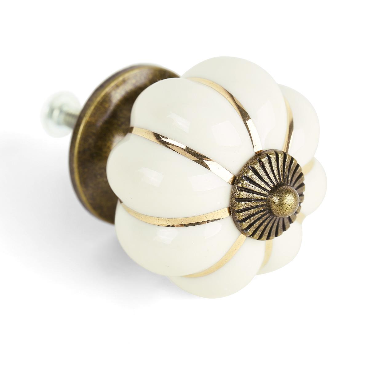 8 pomelli maniglia ceramica per cassetto armadio zucca avorio bianco ebay - Pomelli ceramica per cucina ...