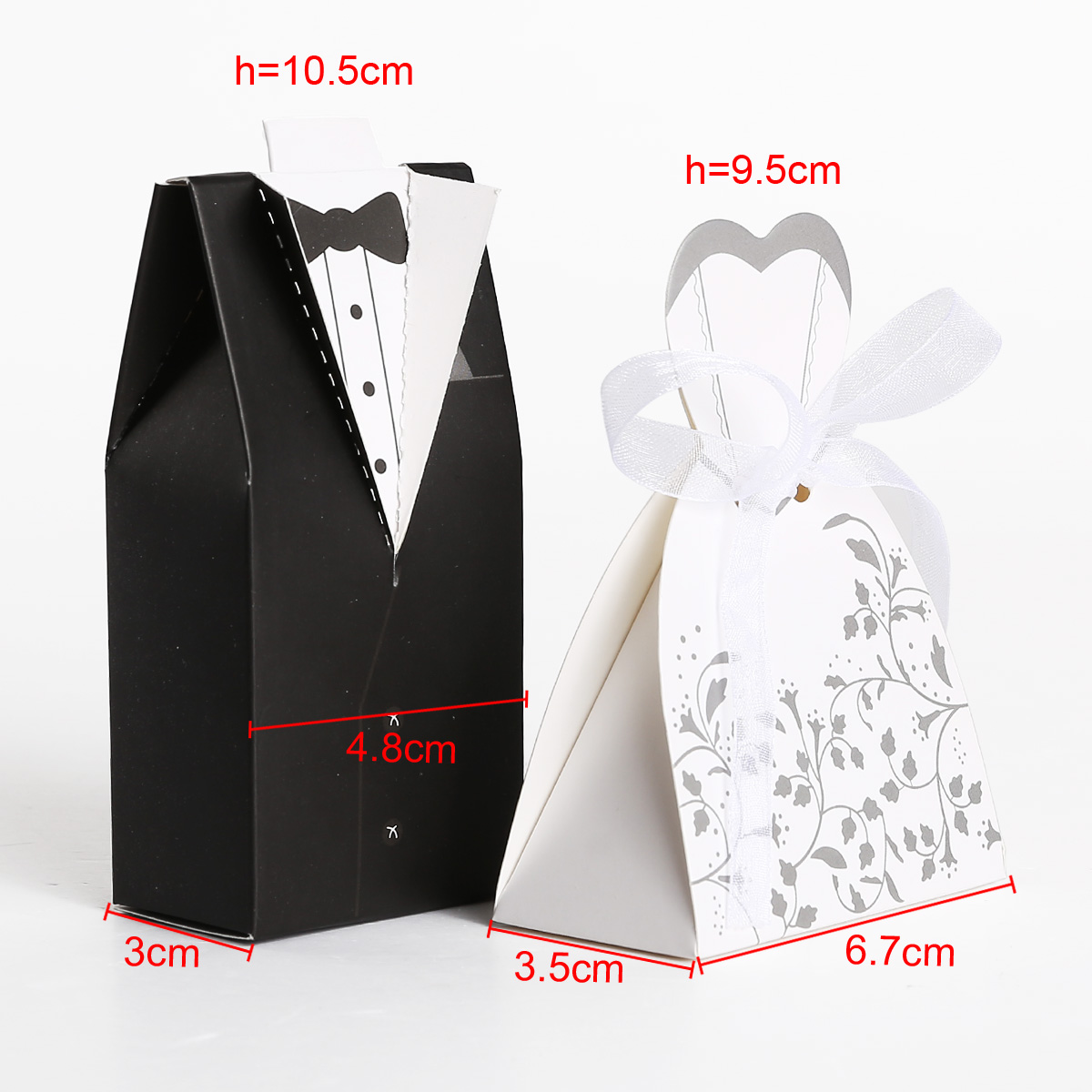 Black&White In Pairs bride and groom wedding candy boxes 100/200pcs ...