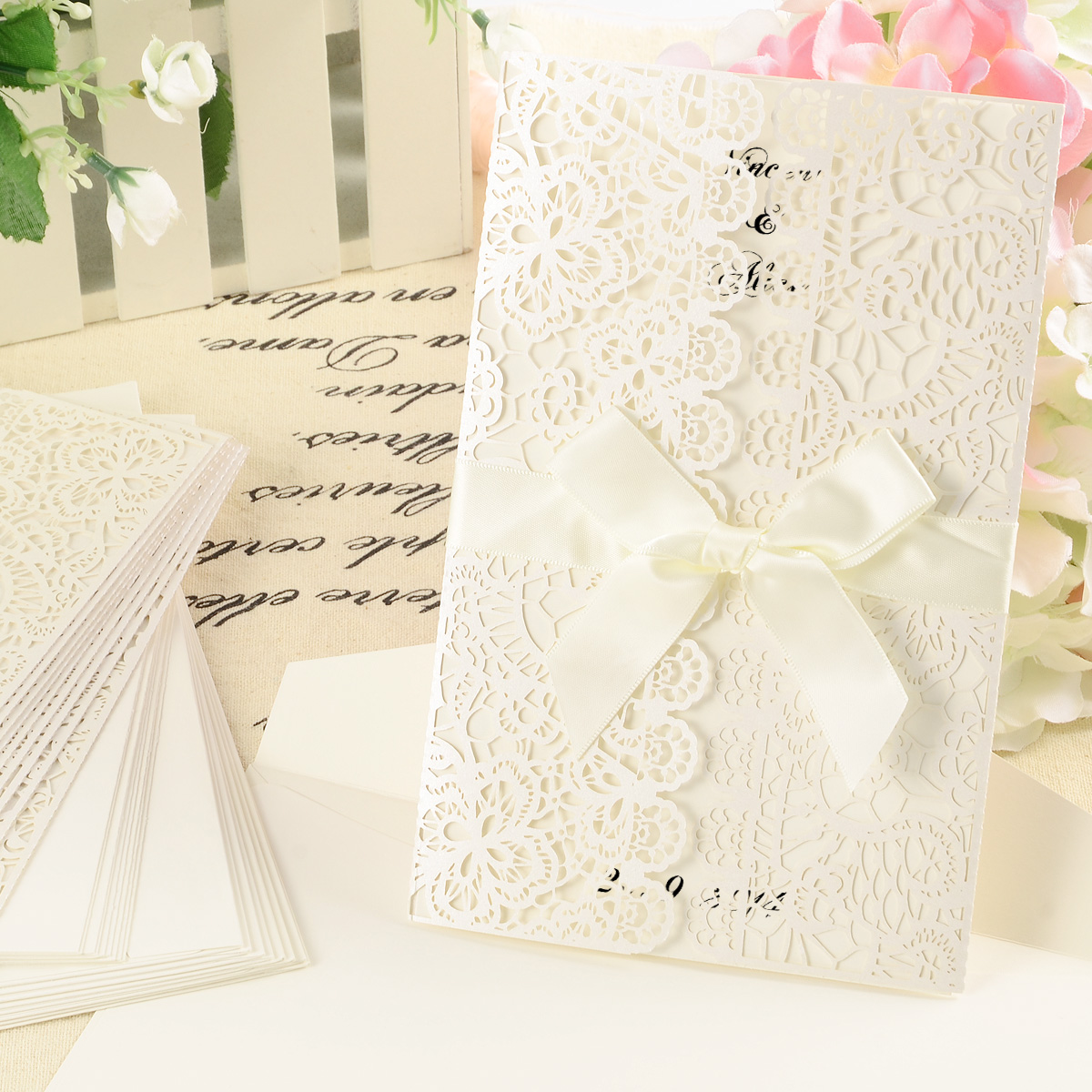 10x WHITE RIBBONS AND LACE LASER CUT WEDDING INVITATIONS INC ...