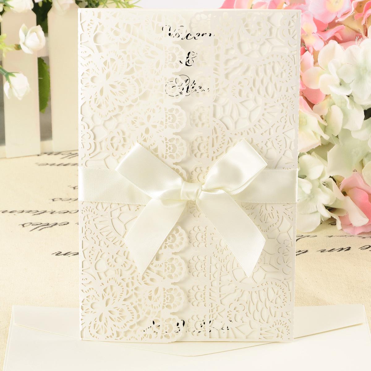 10 DIY Wedding Invitations/ Laser Cut Out / Lace Envelope w Ribbon ...