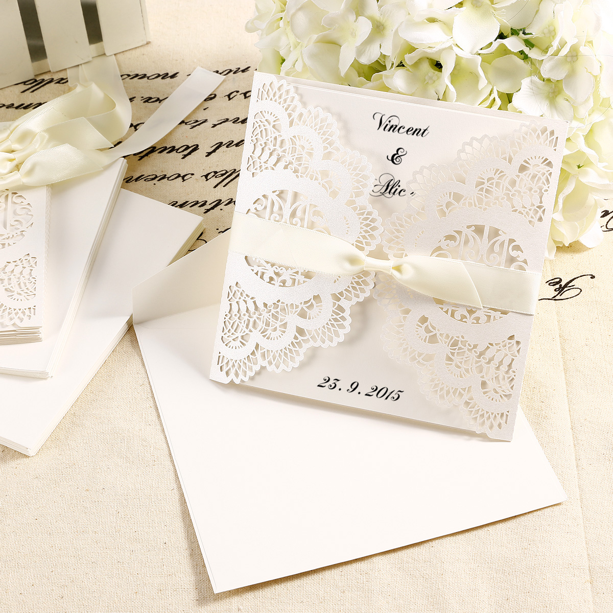 10X DIY Laser Cut Lace Wedding Invitations card & Envelope w/ Ribbon ...