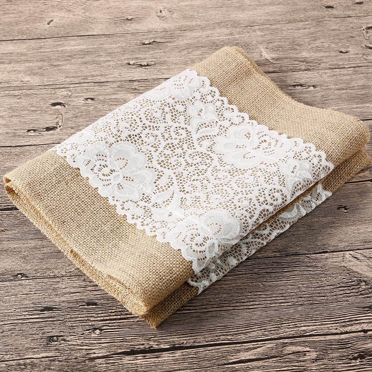 chemin de table jute dentelle blanche 180x30cm rustique maison jardin 0024 ebay. Black Bedroom Furniture Sets. Home Design Ideas
