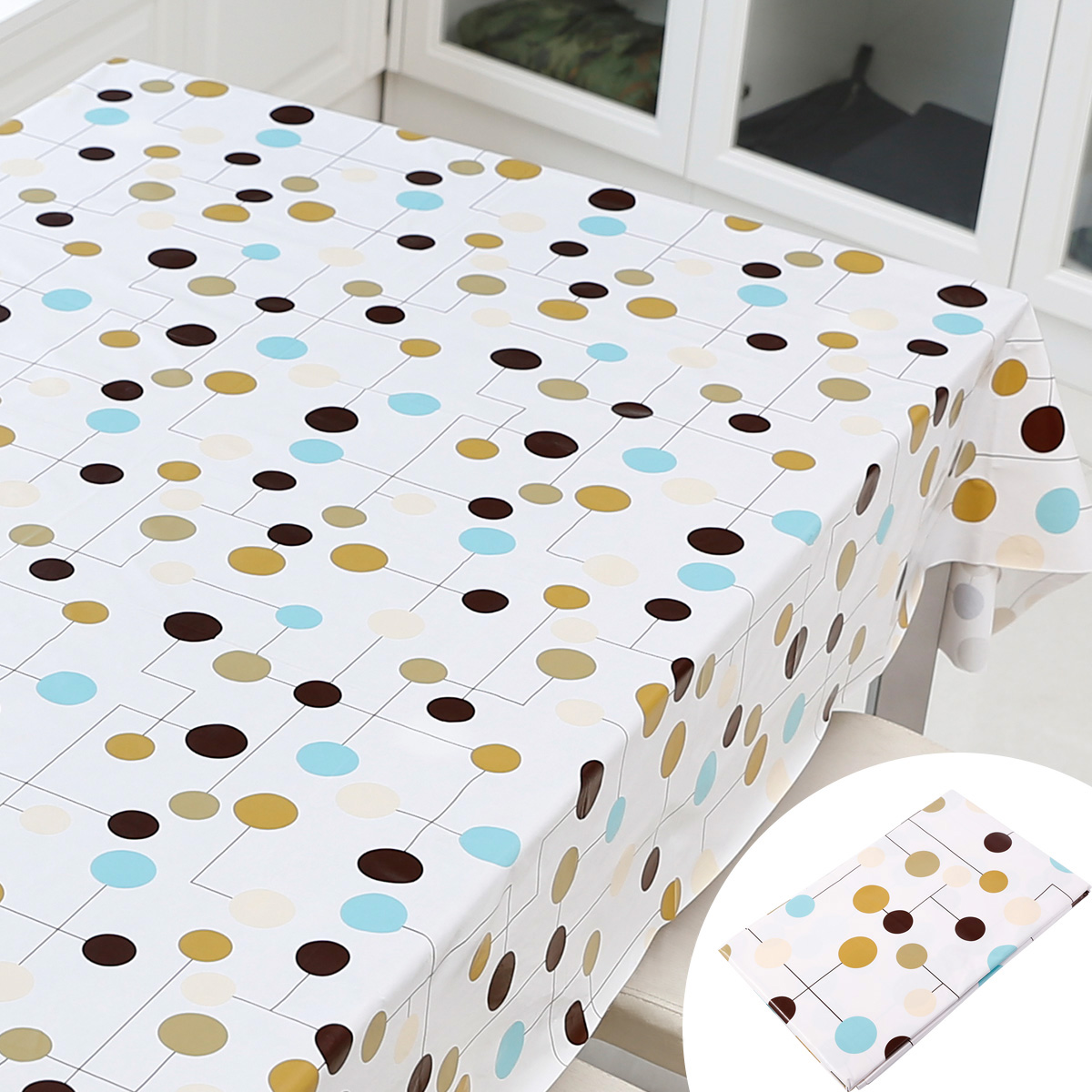 nappe pvc rectangle 200x140cm blanc pois multicolore ebay. Black Bedroom Furniture Sets. Home Design Ideas