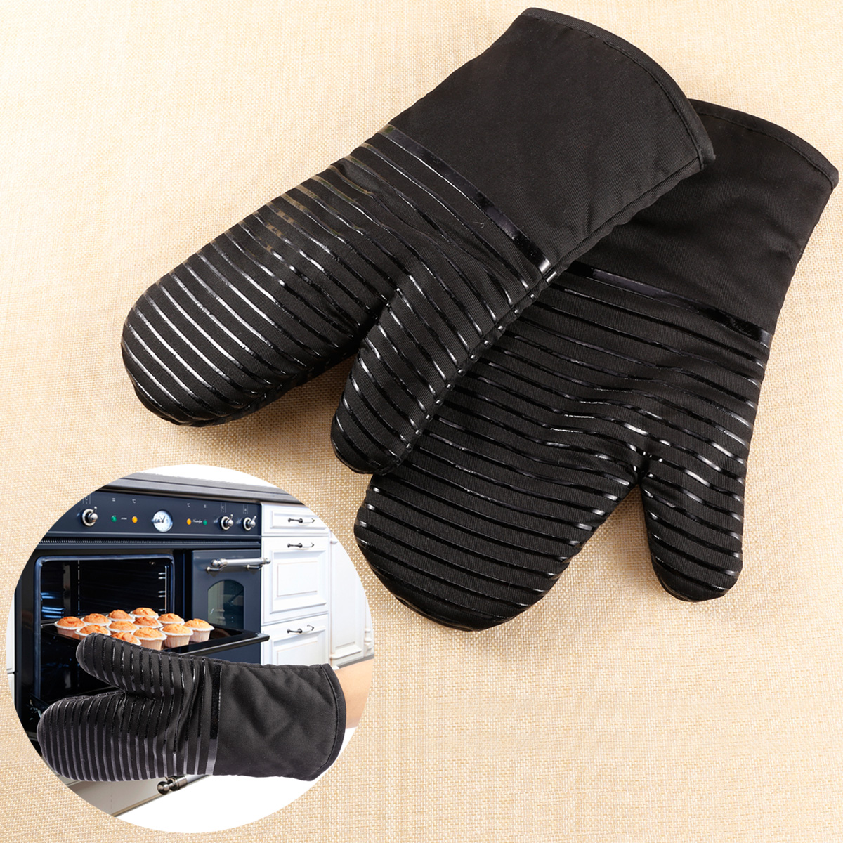 schwarz silikon topfhandschuhe ofenhandschuhe grillhandschuhe backen 6 ebay. Black Bedroom Furniture Sets. Home Design Ideas
