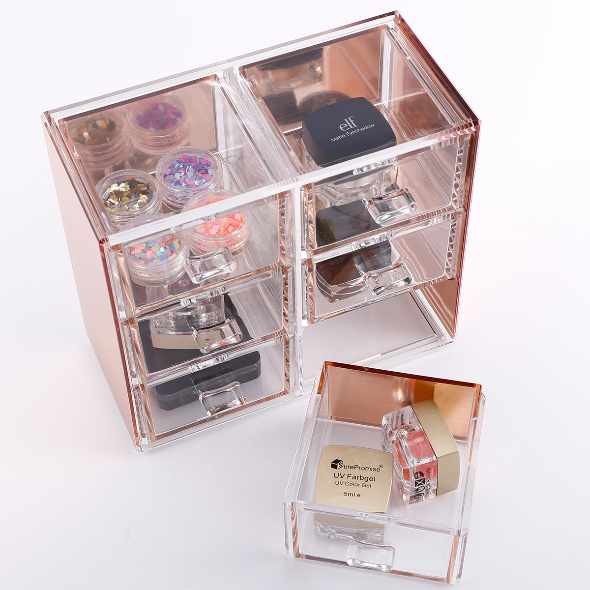rosegold kosmetik organizer make up acryl aufbewahrung kosmetikbox auswahl ebay. Black Bedroom Furniture Sets. Home Design Ideas