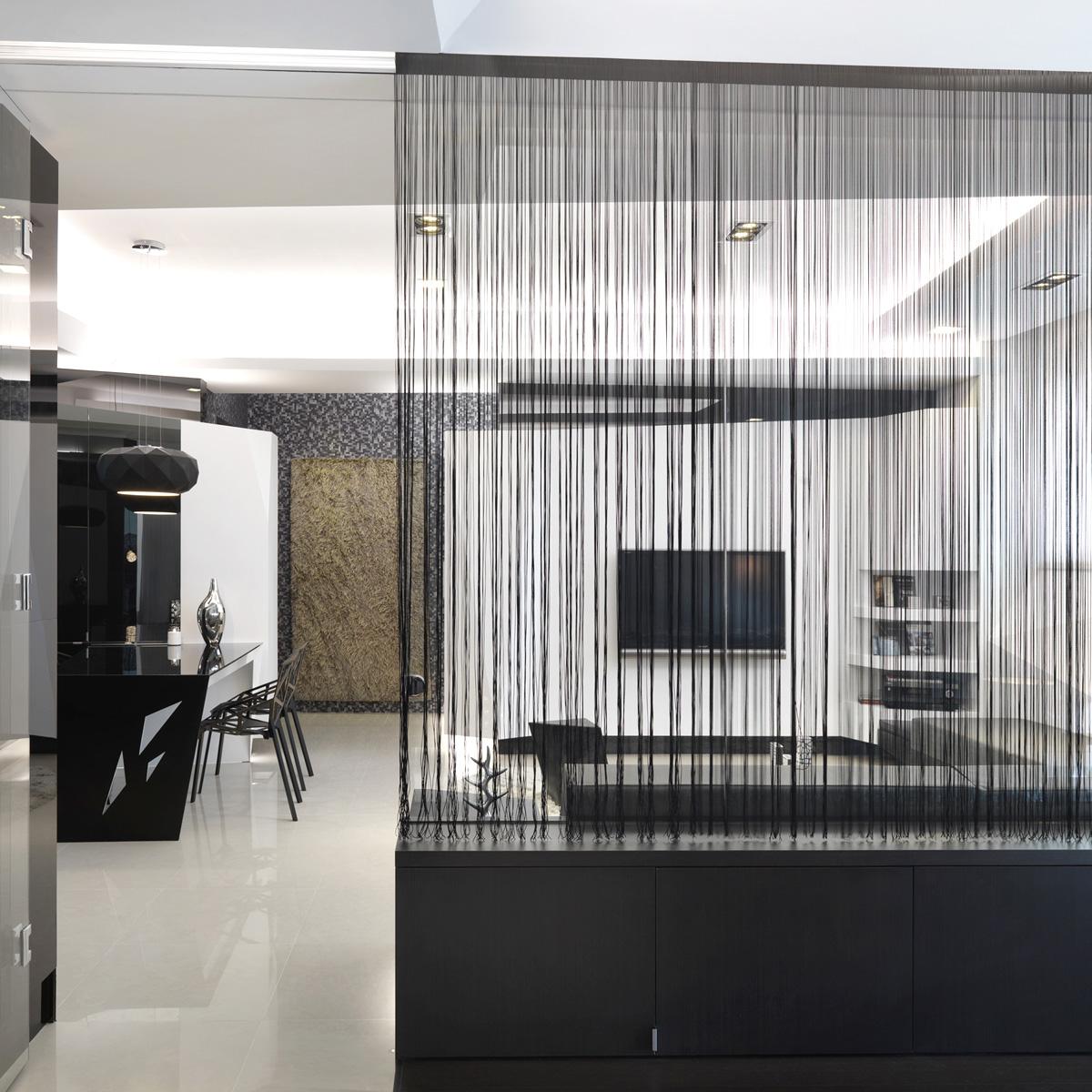 200 90cm schwarz fadengardine fadenvorhang t rvorhang raumteiler dekoschal ebay. Black Bedroom Furniture Sets. Home Design Ideas