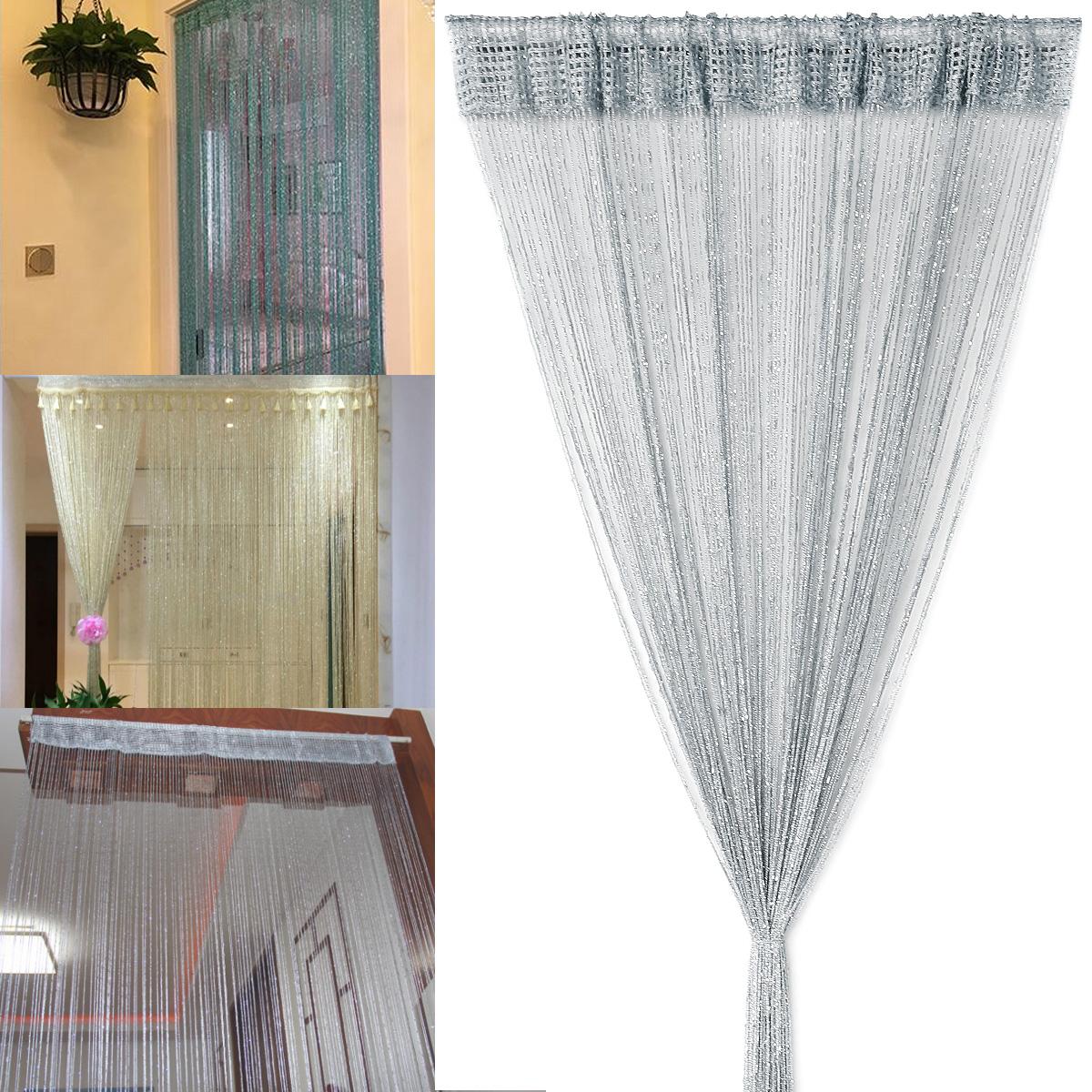 200cm Beige Fadengardine Fadenvorhang Türvorhang Gardine Vorhang Lurex Optik