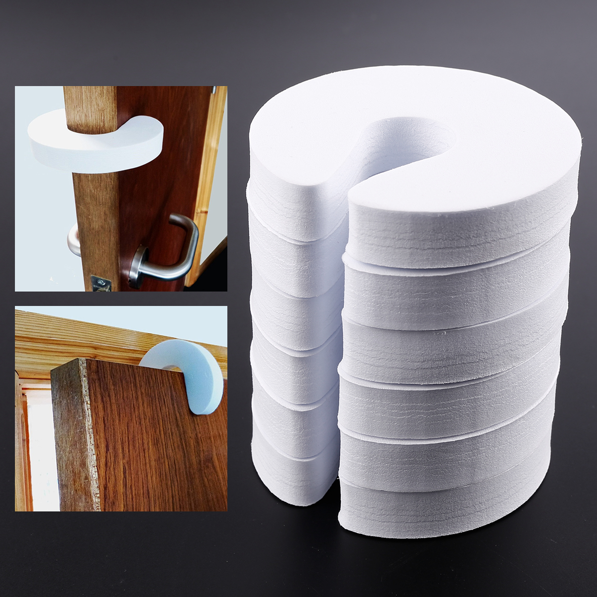 6er wei schaumstoff t rstopper doorstop finger klemmschutz kindersicherung 37 ebay. Black Bedroom Furniture Sets. Home Design Ideas