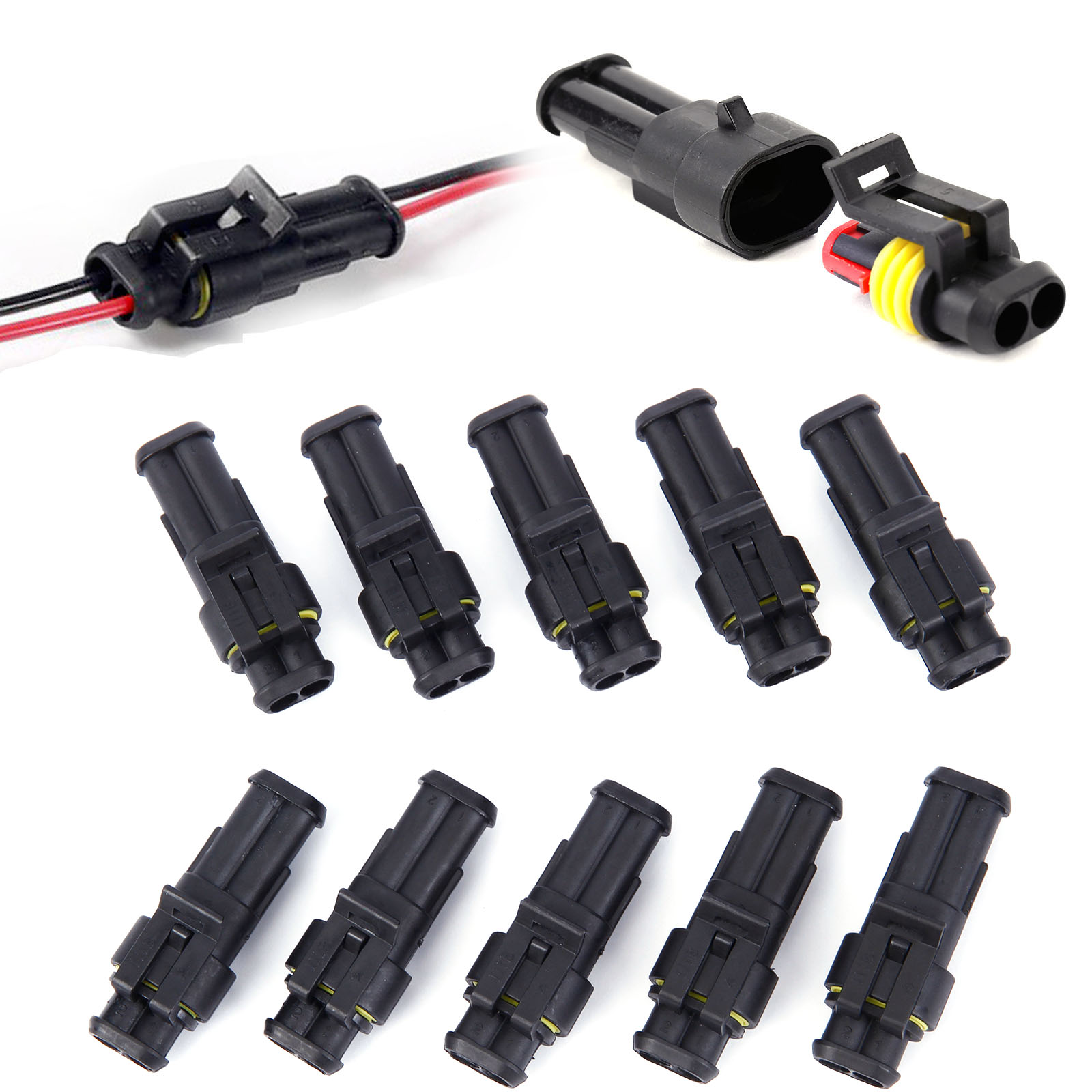 1.5 2Pin Waterproof Electrical Male//Female Connectors AMP Kits Set 2 Way For Car