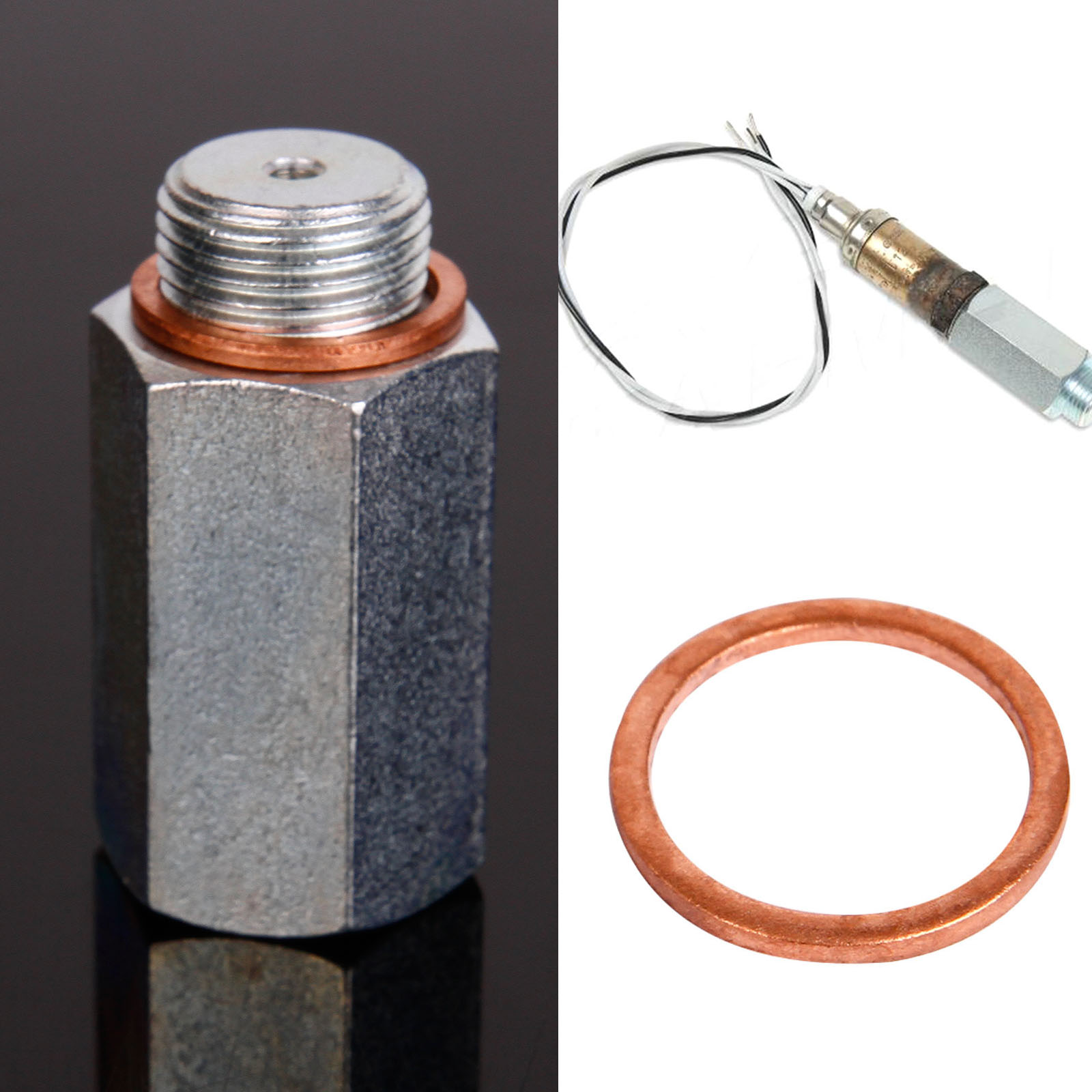 M18x1.5 Lambda O2 Oxygen Sensor Extension Extender Spacer Exhaust Silver