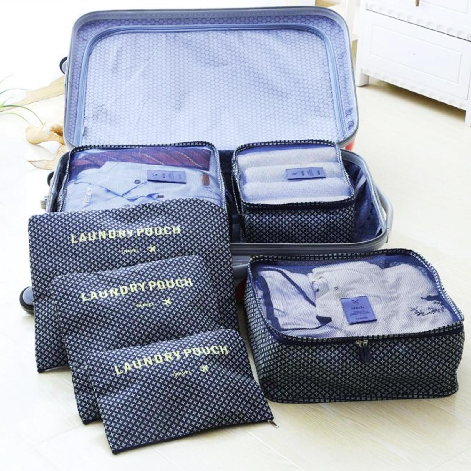 kleidertaschen set 6 teilig set packtaschen packw rfel urlaub kofferorganizer ebay. Black Bedroom Furniture Sets. Home Design Ideas