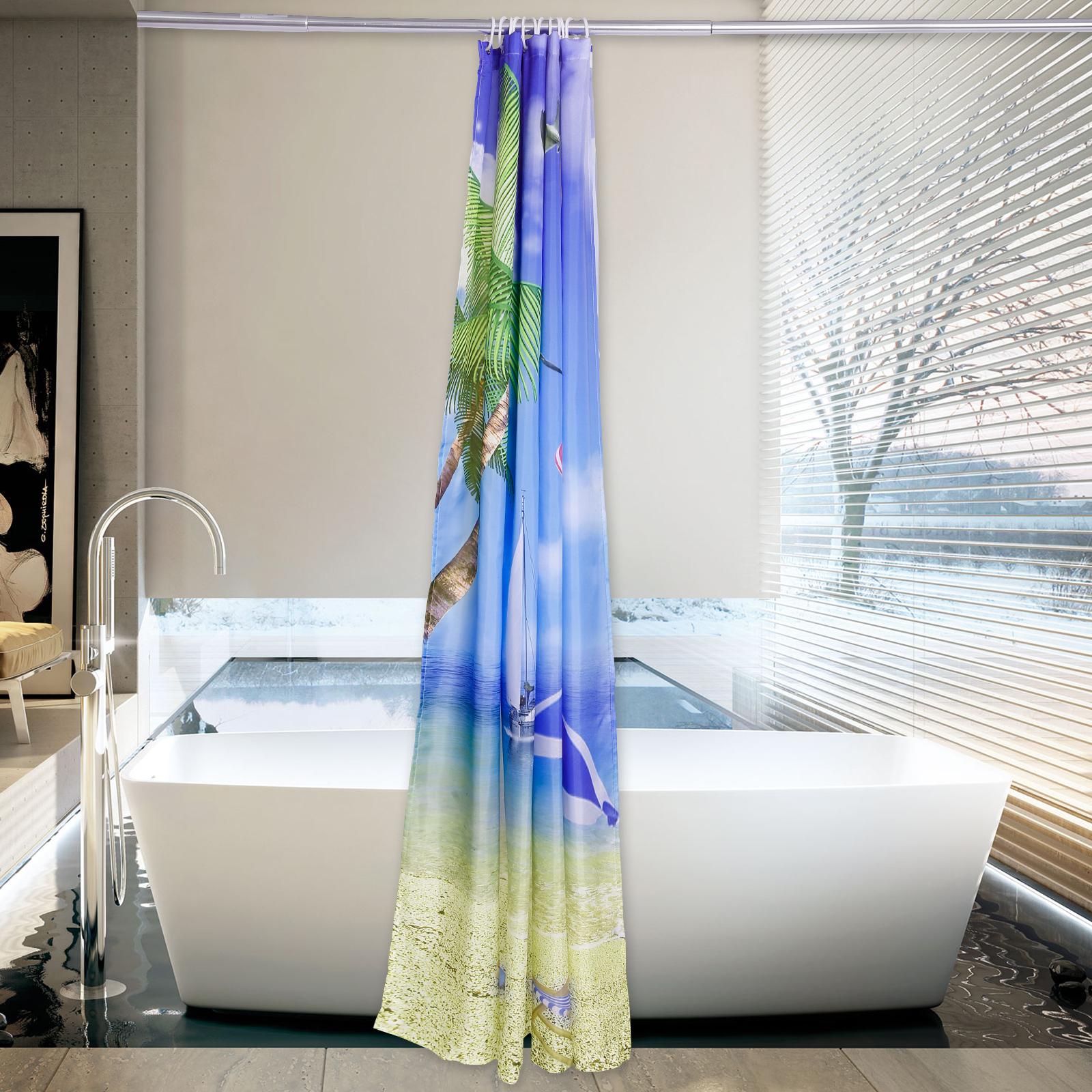 rideau de douche maison polyester decor art moderne lavable 12 crochet avec ebay. Black Bedroom Furniture Sets. Home Design Ideas