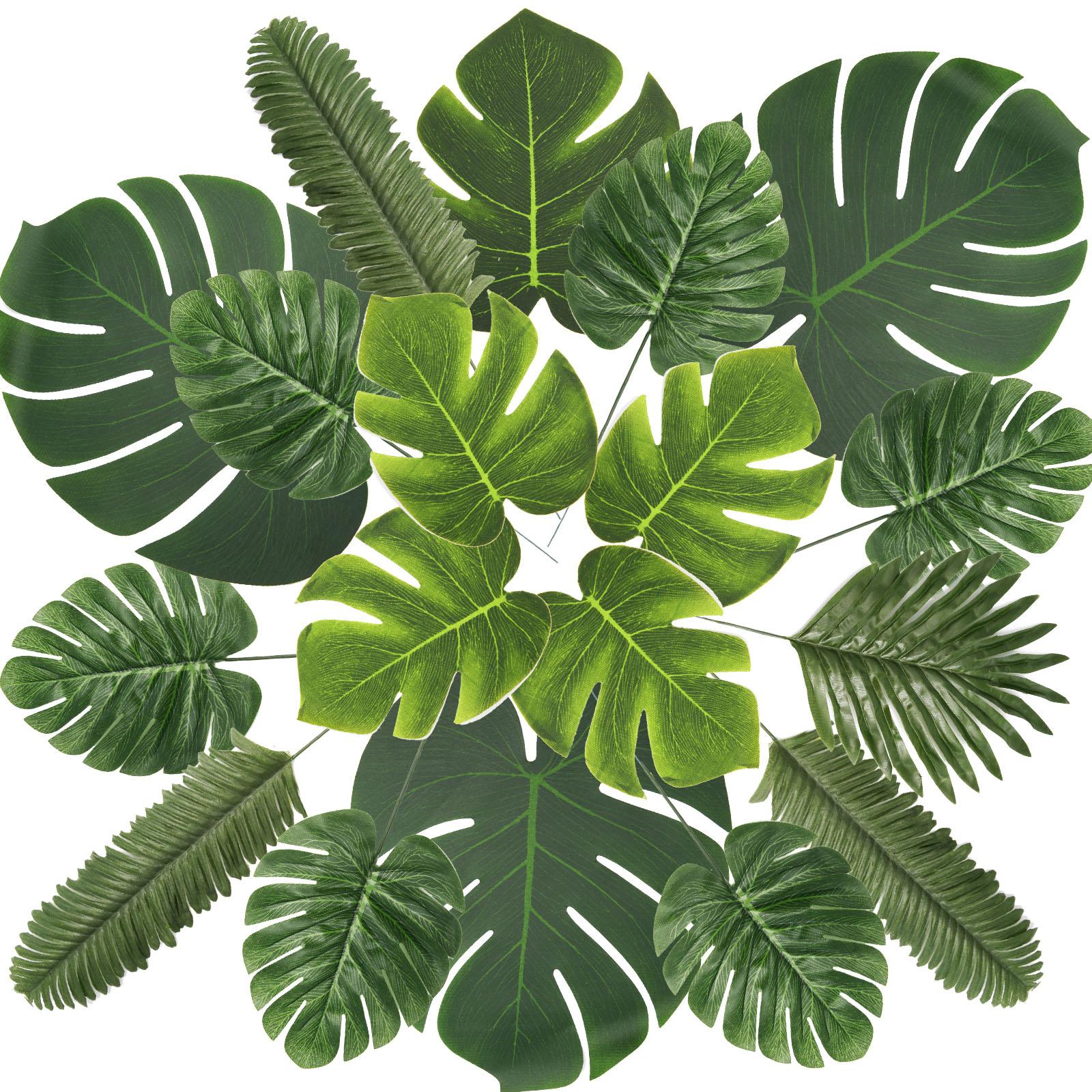60-Stück 6 Arten Künstliche Palmblätter Tropische Party Dekoration Blätter