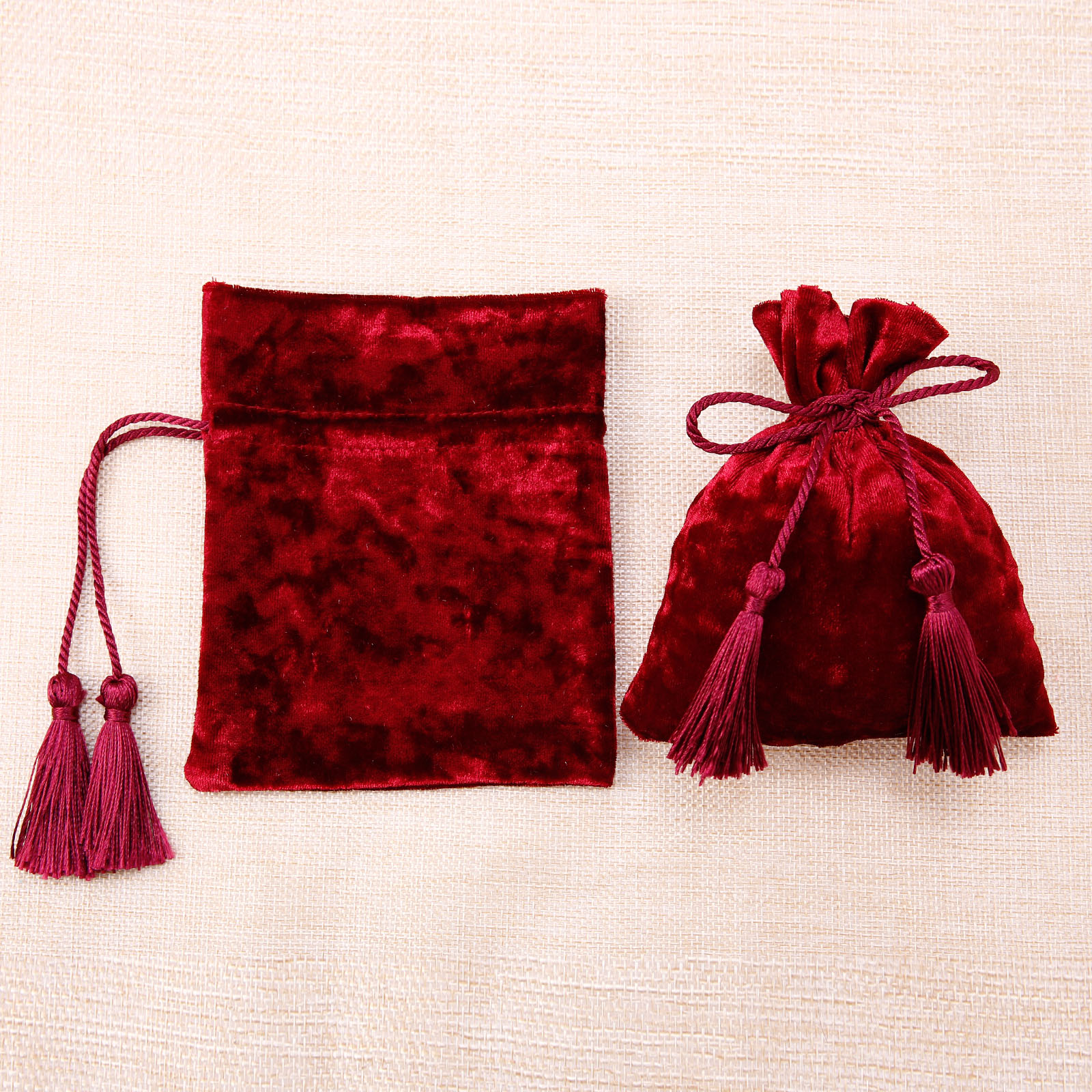 10 5 x Bourse en Velours avec Glands Pochette Bijoux Cadeaux pour Mariage Fête