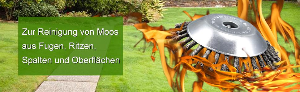 Wildkrautbürste Rundürste Fugenbürste 2,54x20cm gezopft für Grassschneider