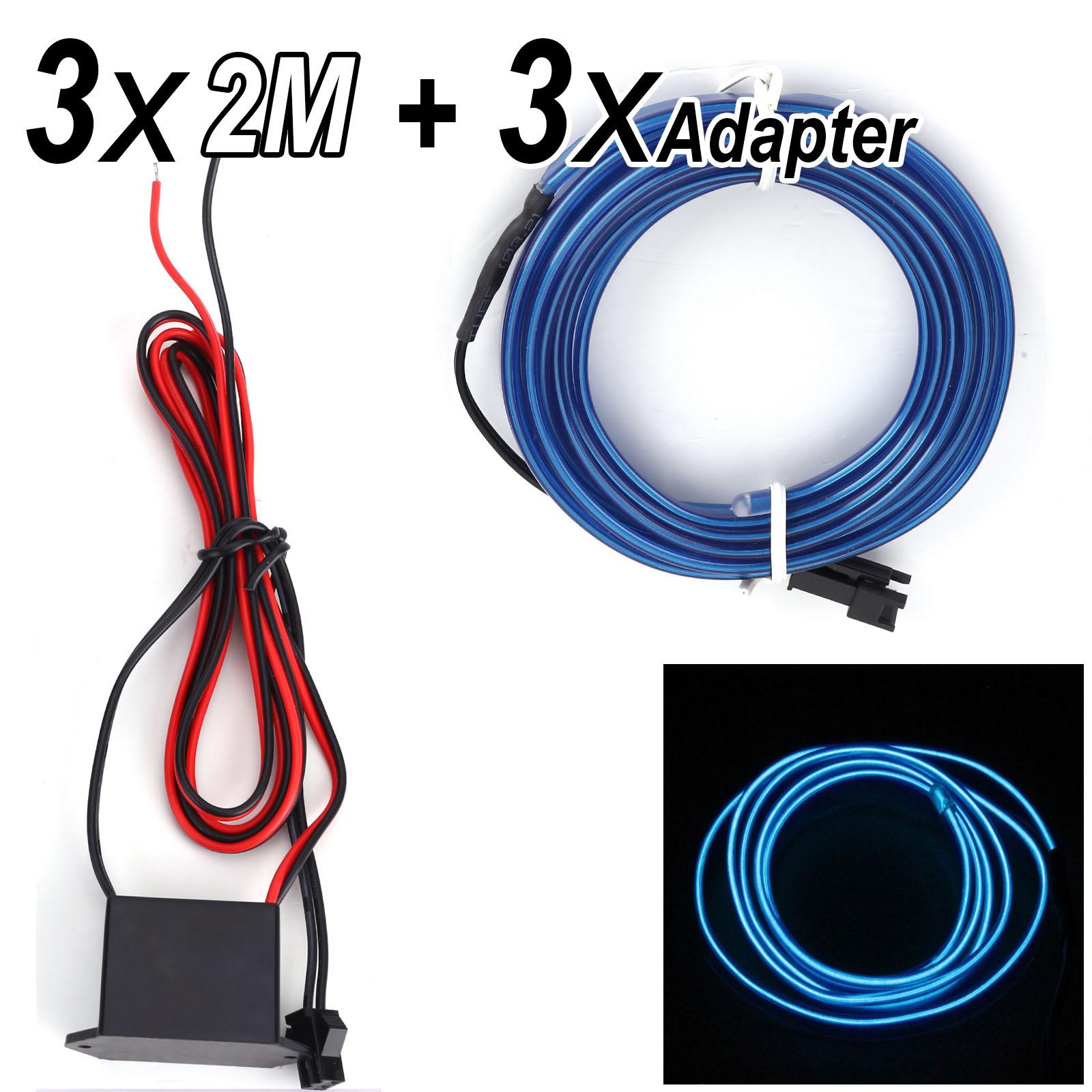 3x 2M Blau EL Neon Kabel Lichtschnur Leuchtschnur Leuchtdraht Wire ...