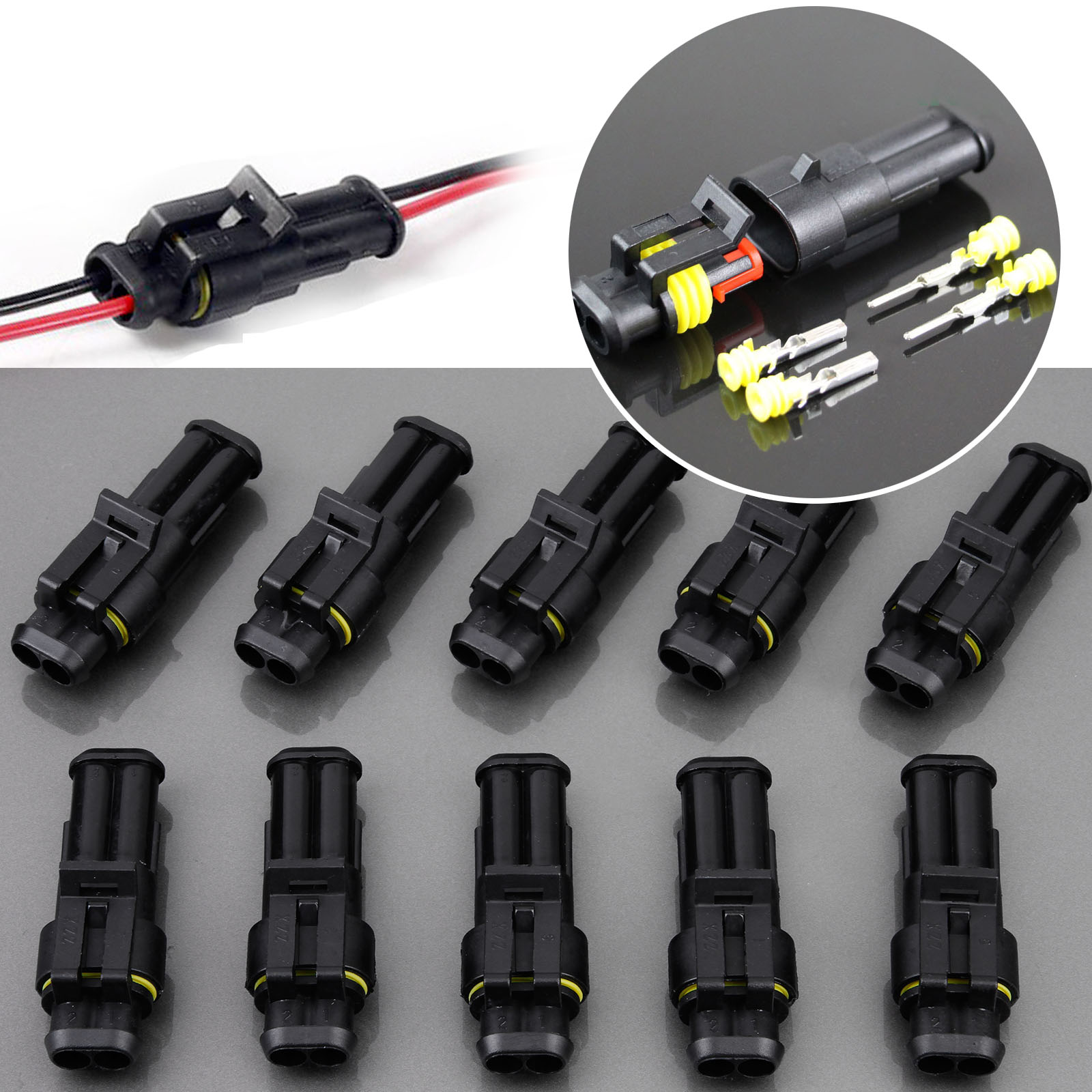 10x 2 polig superseal kfz stecker set steckverbindung auto wasserdicht ebay. Black Bedroom Furniture Sets. Home Design Ideas