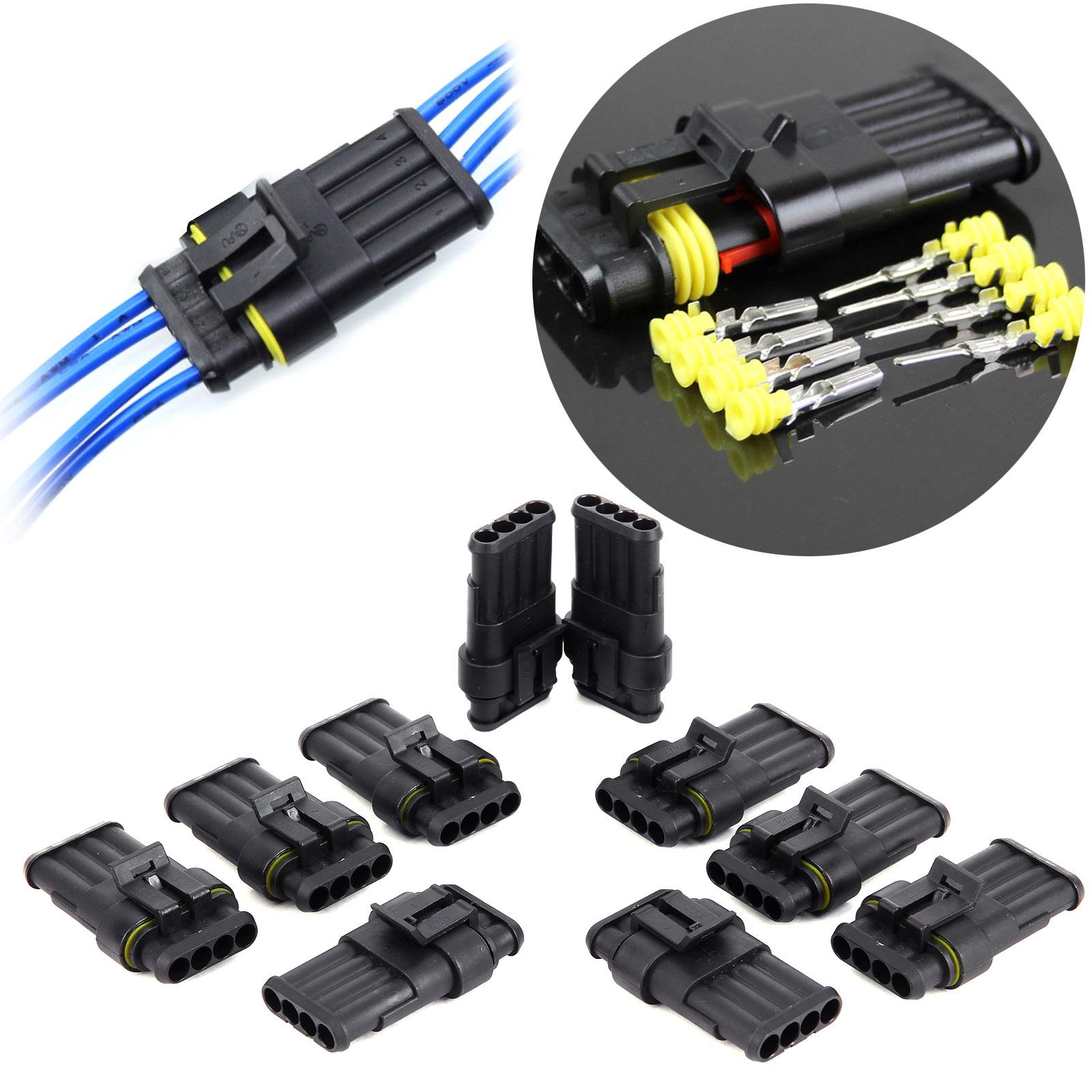 10x connecteur 4 fiches tanche pour cable electrique voiture bateau moto quad ebay. Black Bedroom Furniture Sets. Home Design Ideas