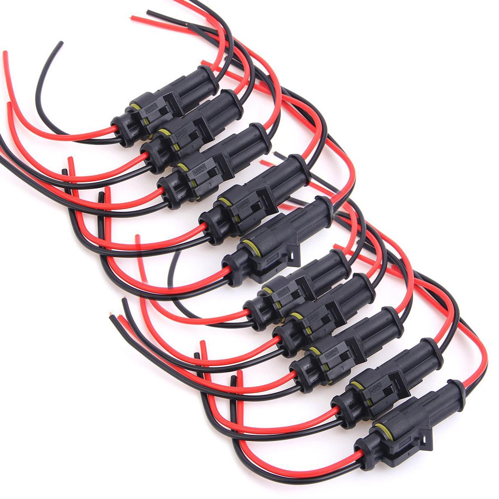 10x connecteur 2 fiches tanche avec cable electrique voiture bateau moto quad ebay. Black Bedroom Furniture Sets. Home Design Ideas