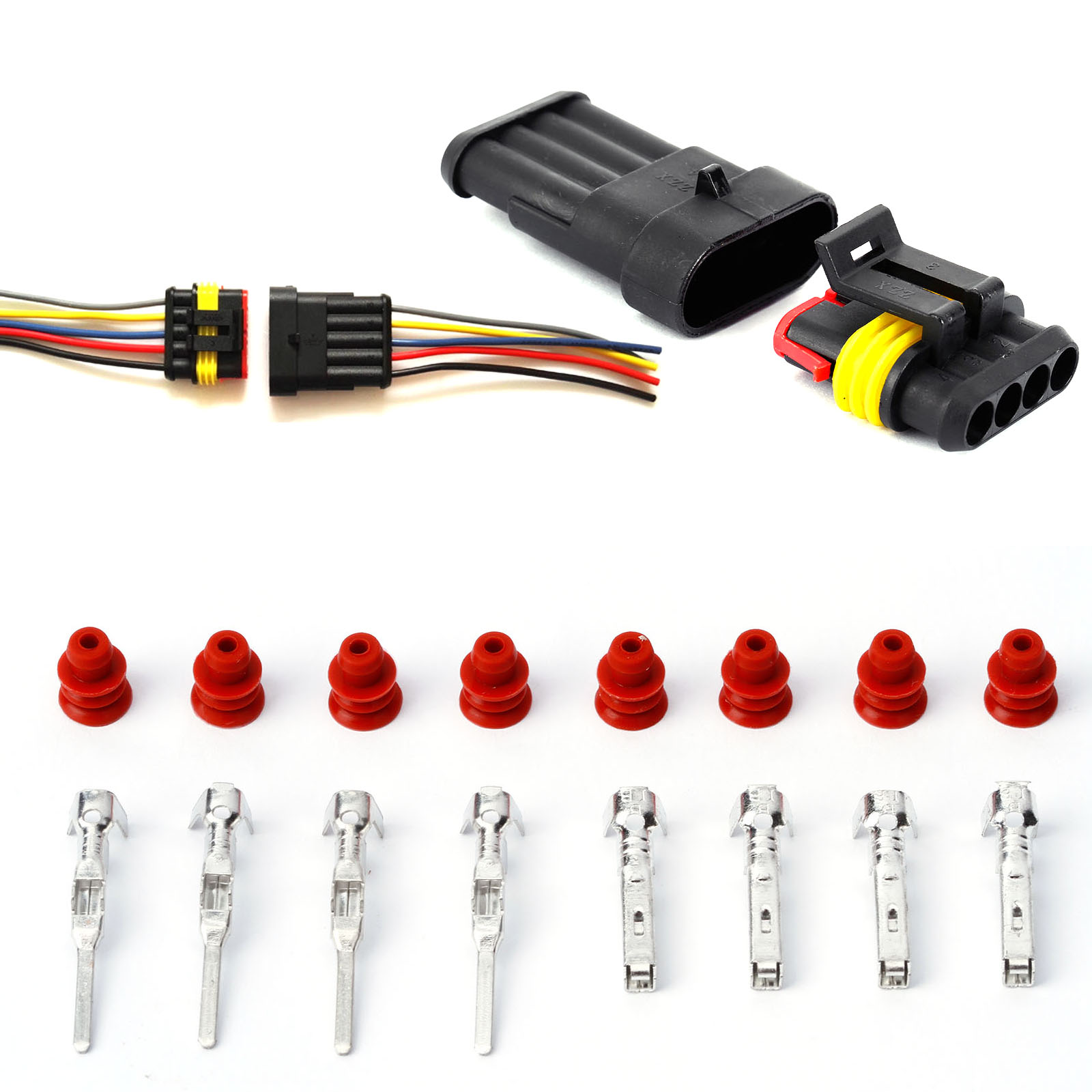 10 Set of 2 Pin Plastic Car Waterproof Electrical Wire Plug Connector 1.5-2.5mm²