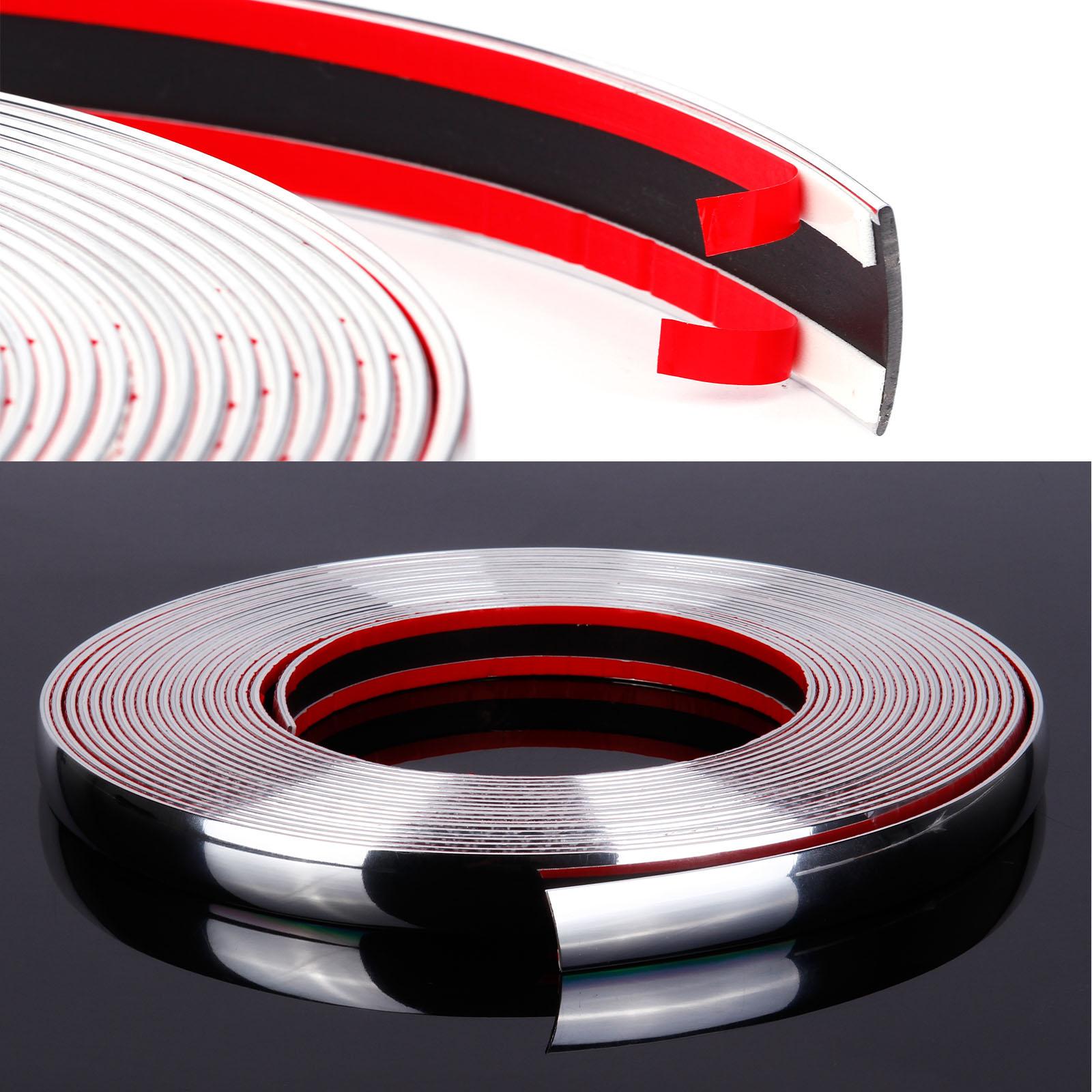 25mm x 5 meter Chrom Zierleiste Leisten Chromleiste Selbstklebend Flexibel Kunststoff Tuning