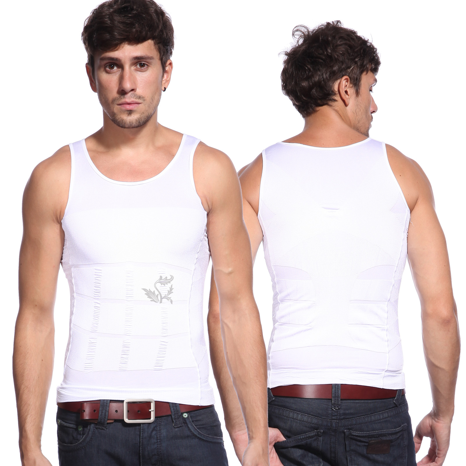gaine d bardeur homme slim ventre plat veste minceur fitness blanc l xl neuf ebay. Black Bedroom Furniture Sets. Home Design Ideas
