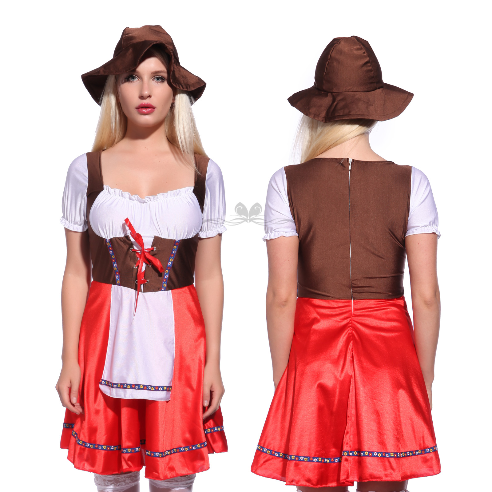 German Bavarian Oktoberfest Beer Festival Fancy Dree Group Party Couples Costume  sc 1 st  eBay & Mens Ladies Oktoberfest German Beer Maid Wench Costume Halloween ...