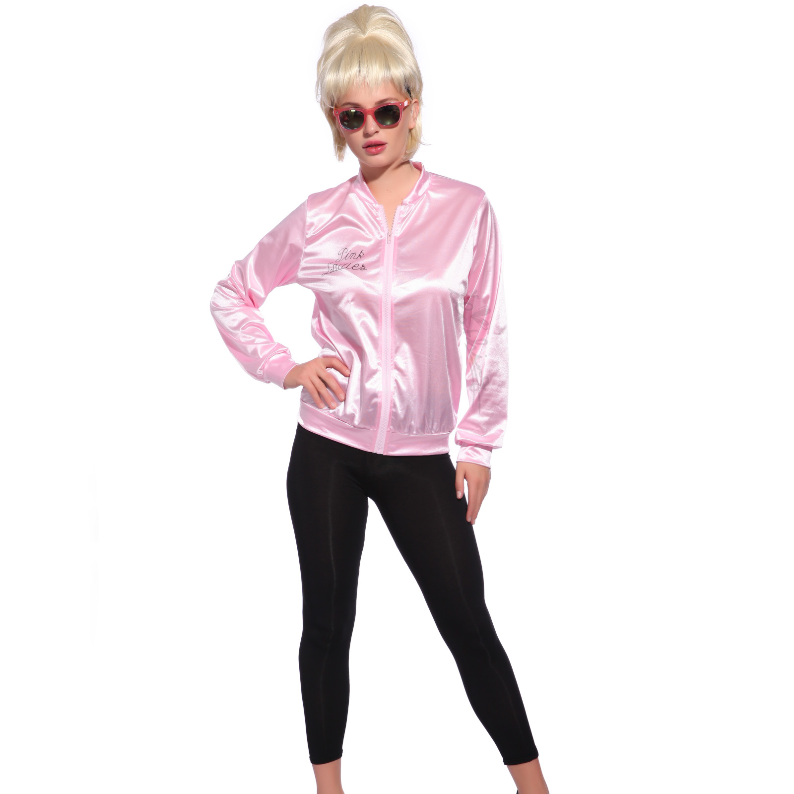Retro 1950s Classic Movie Satin Pink Ladies Jacket Costume