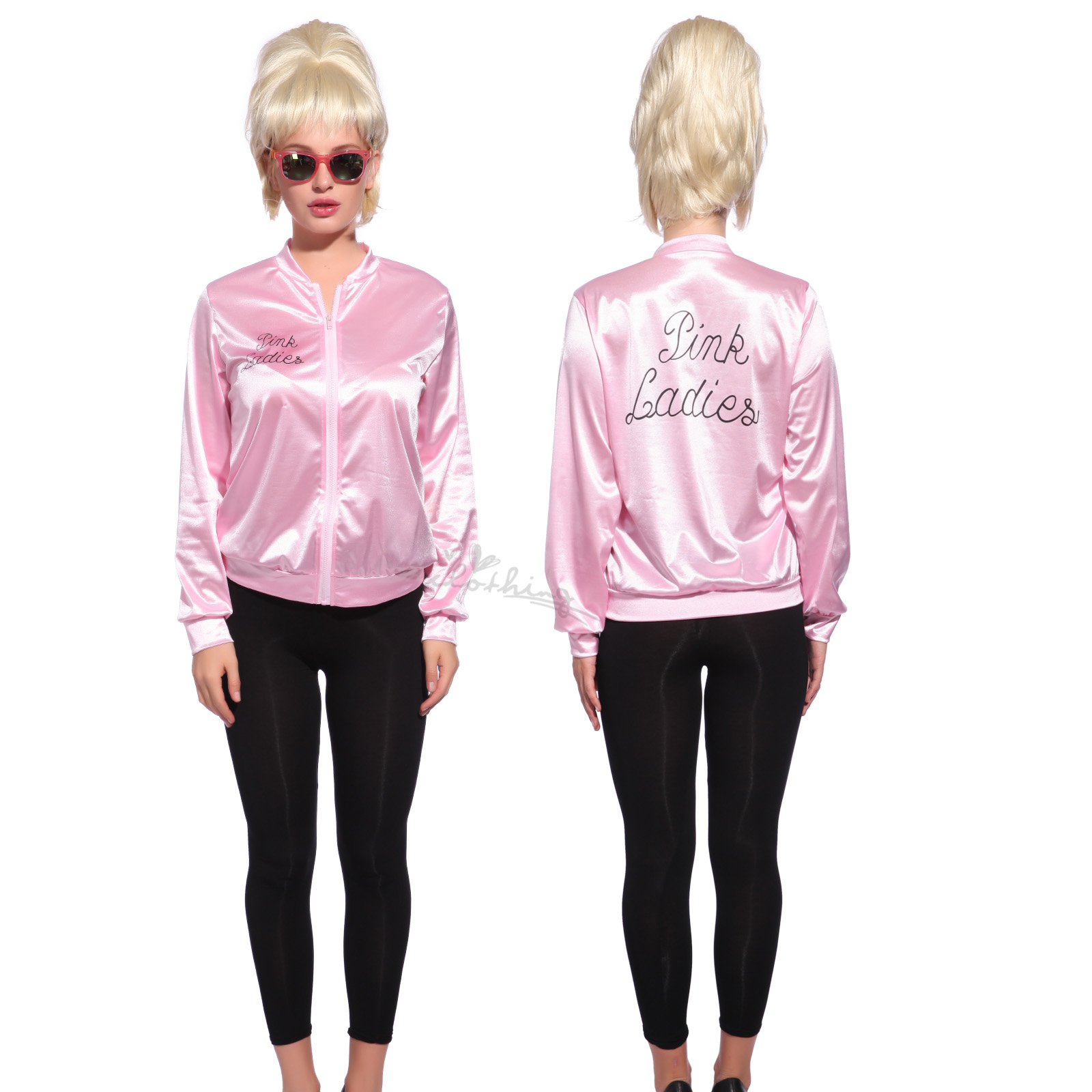 Retro 1950s Classic Movie Satin Pink Ladies Jacket Costume Party ...